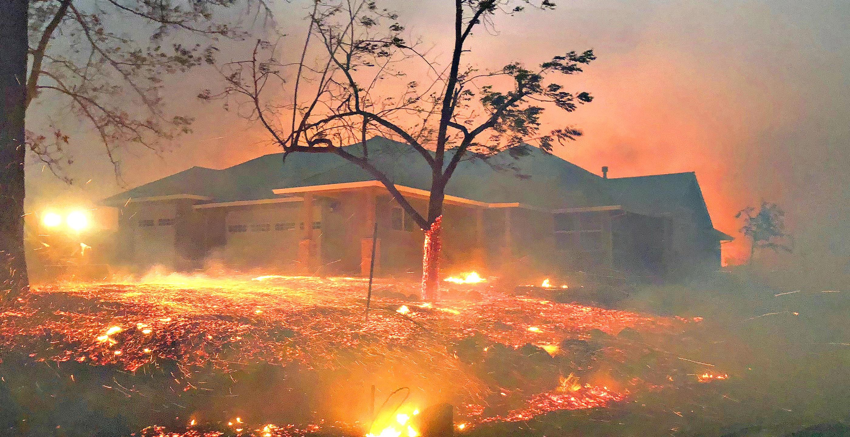 Paradise, CA, fiery landscape