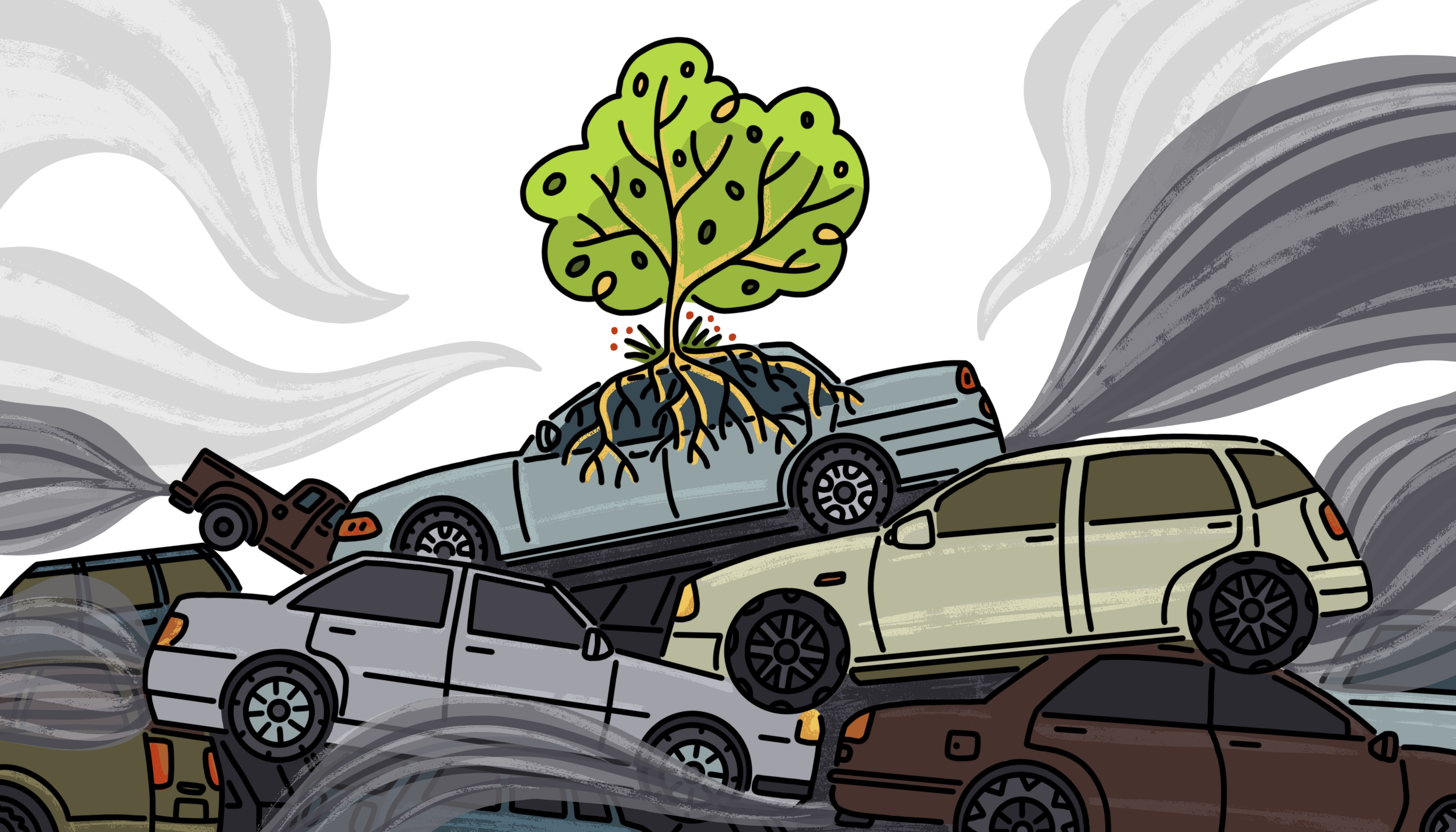 A junkyard pile up of old cars. Smog fills the air. A single tree has taken root at the top of the pile. Illustration.