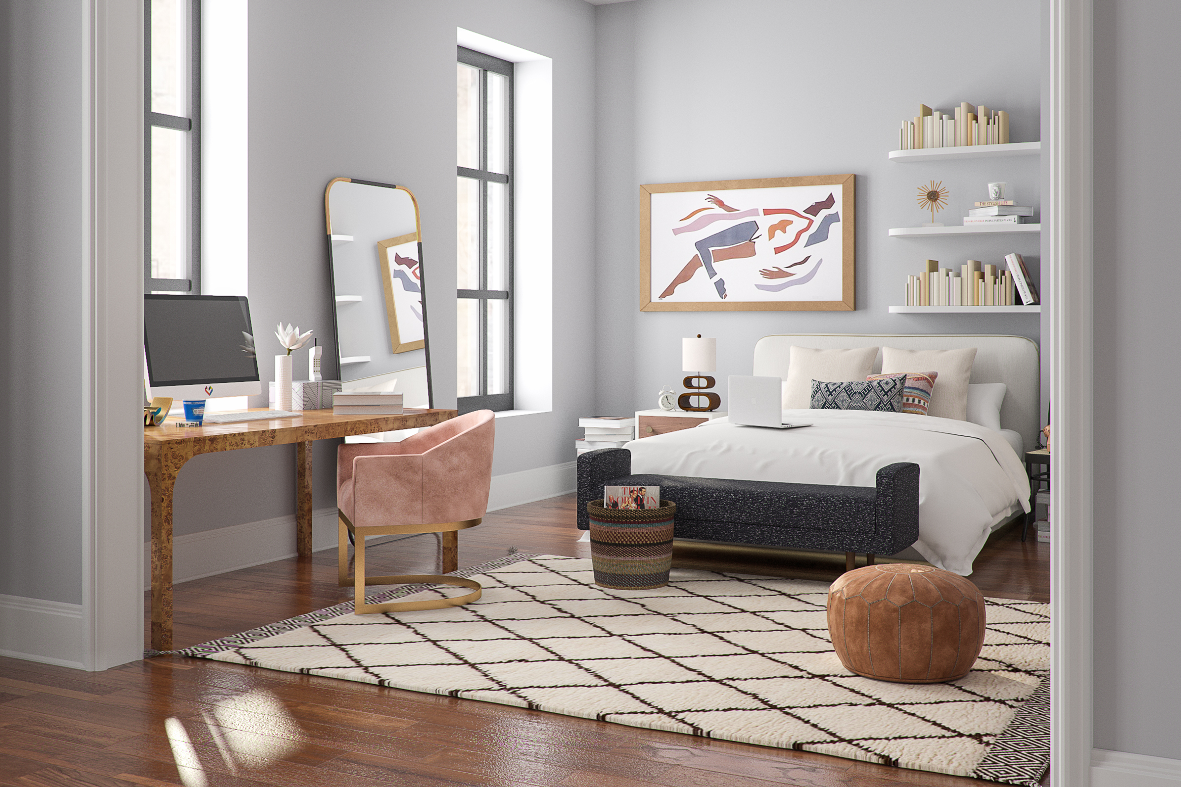 Rendering of a bedroom with a rug and artwork on the walls.