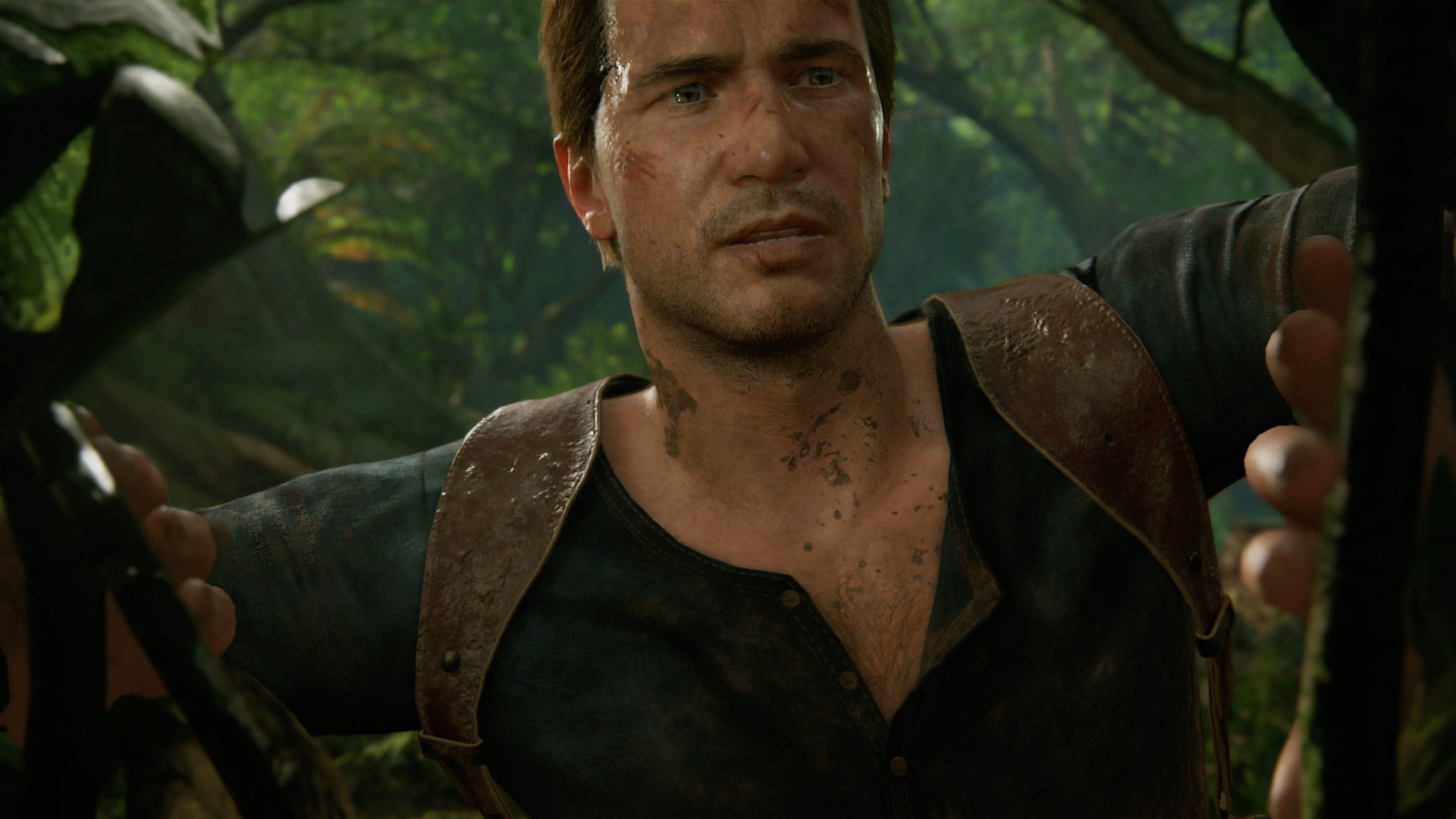A close-up shot of Nathan Drake from Uncharted 4: A Thief's End
