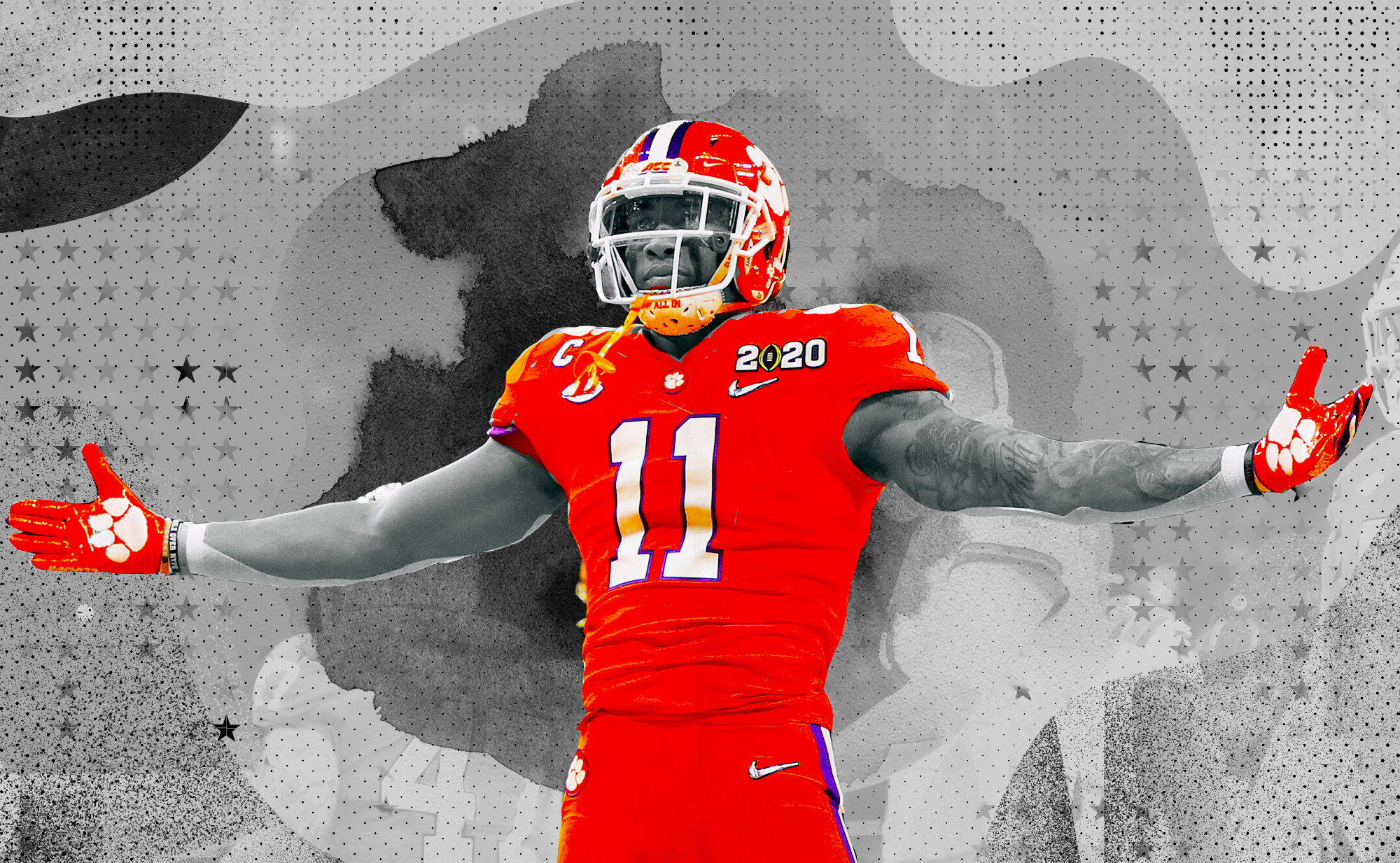 Clemson linebacker Isaiah Simmons with his arms outstretched in front of a black and white background.