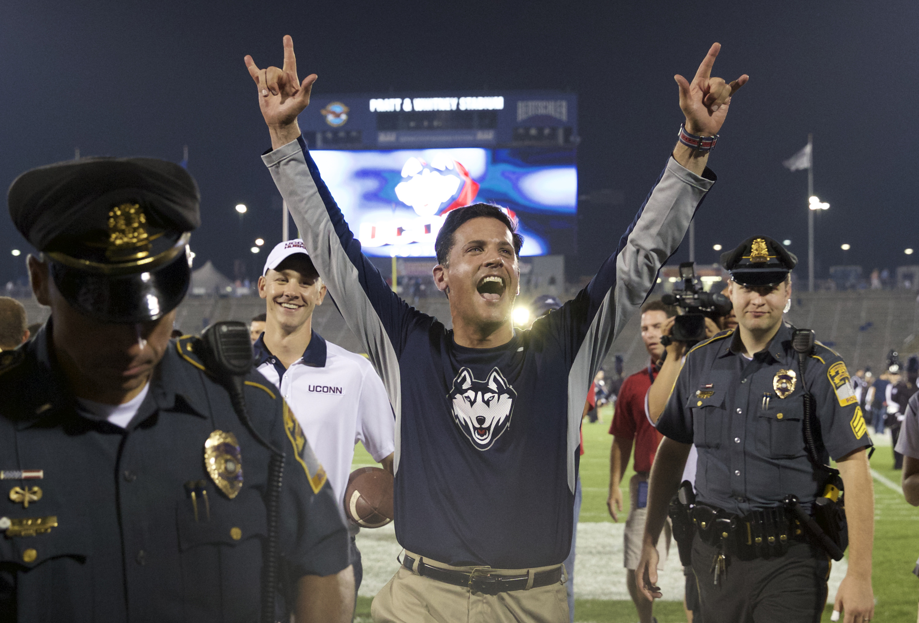 Bob Diaco and the UConn Huskies will be resting easy at 1-0 with a chance to watch many future opponents today.