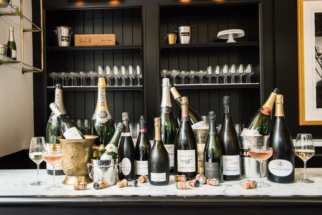 Around a dozen bottles of champagne displayed on a counter