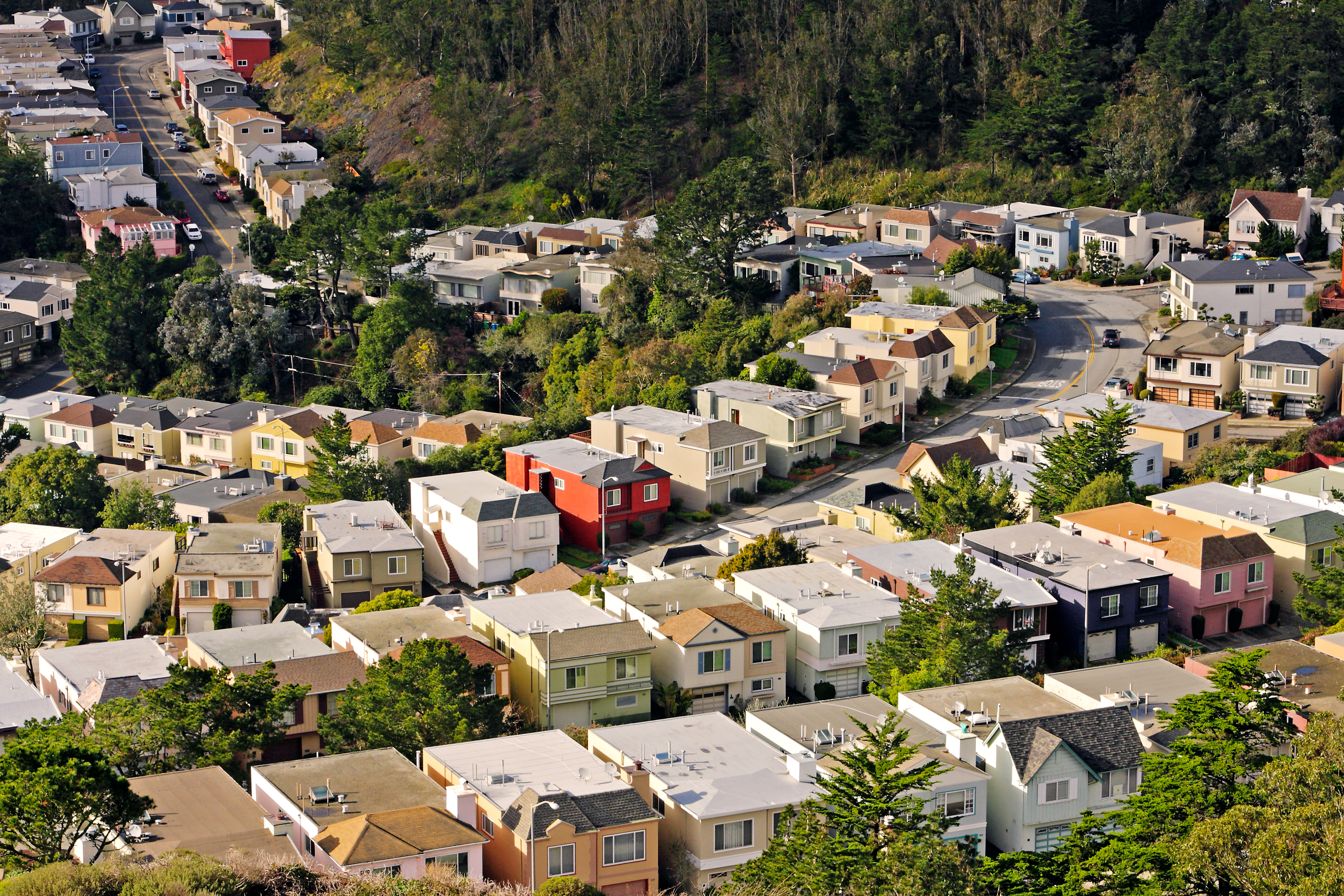 Rows of single-family homes as seen from above.