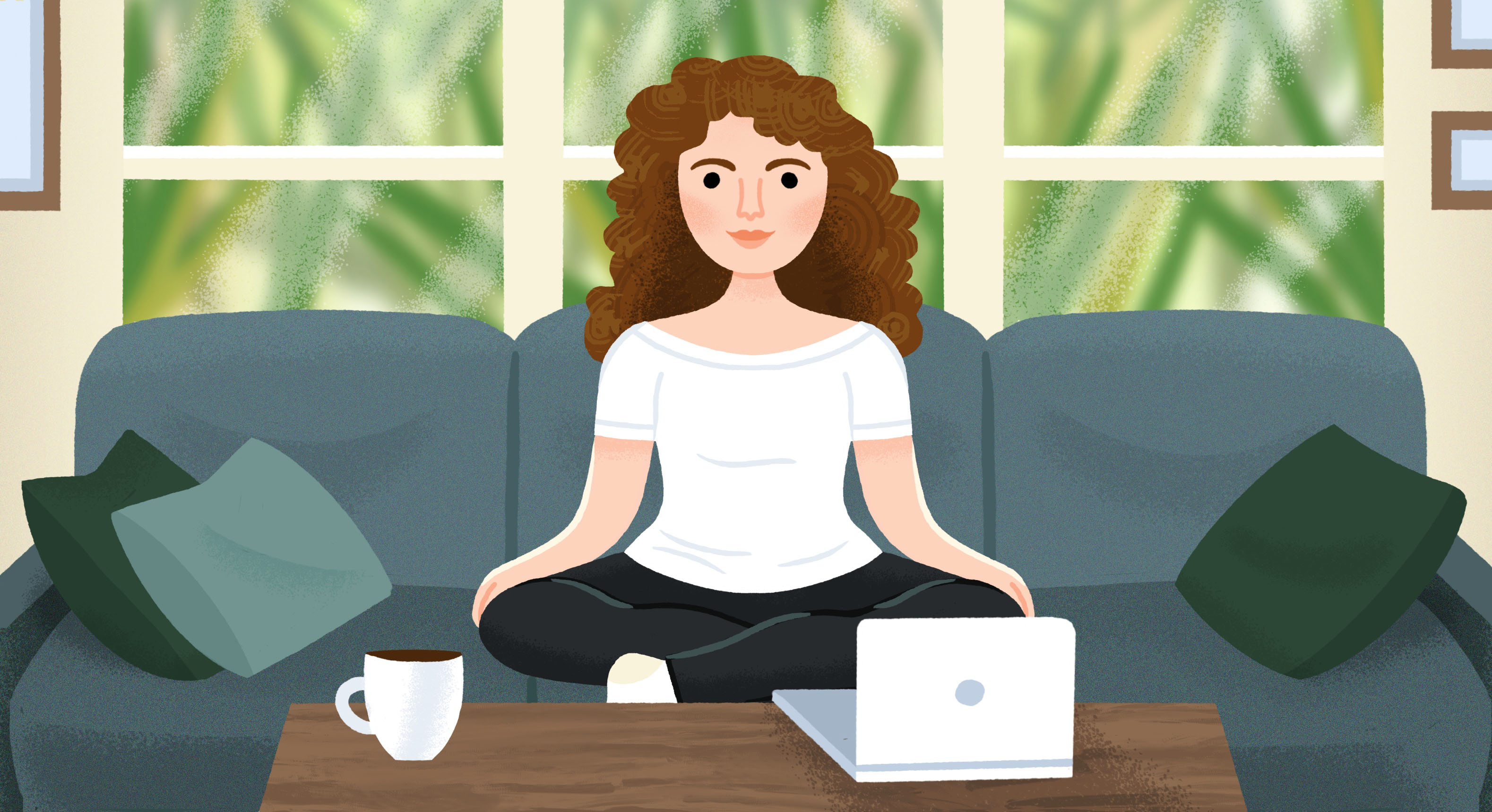 An illustration of a woman with curly hair sitting on a blue sofa. An open laptop and mug are on a coffee table and there is a window with a view of greenery behind her.