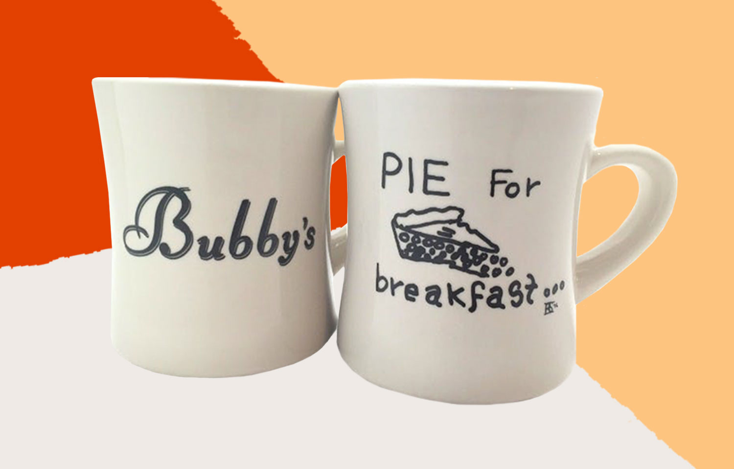 """White """"pie for breakfast"""" mug from Bubby's restaurant in NYC"""