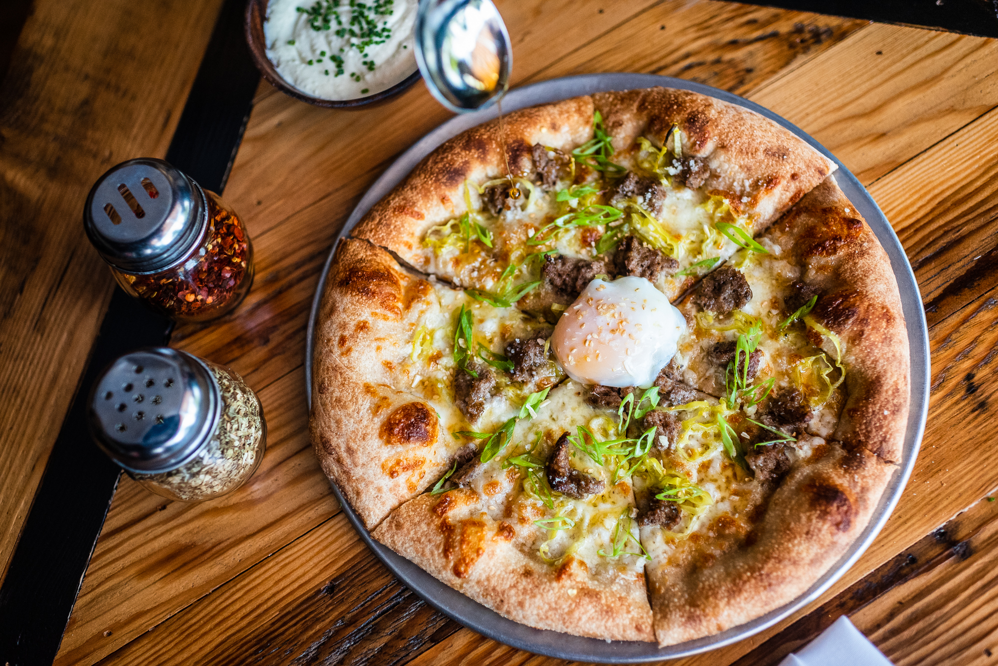 A brunch pizza from All-Purpose Capitol Riverfront