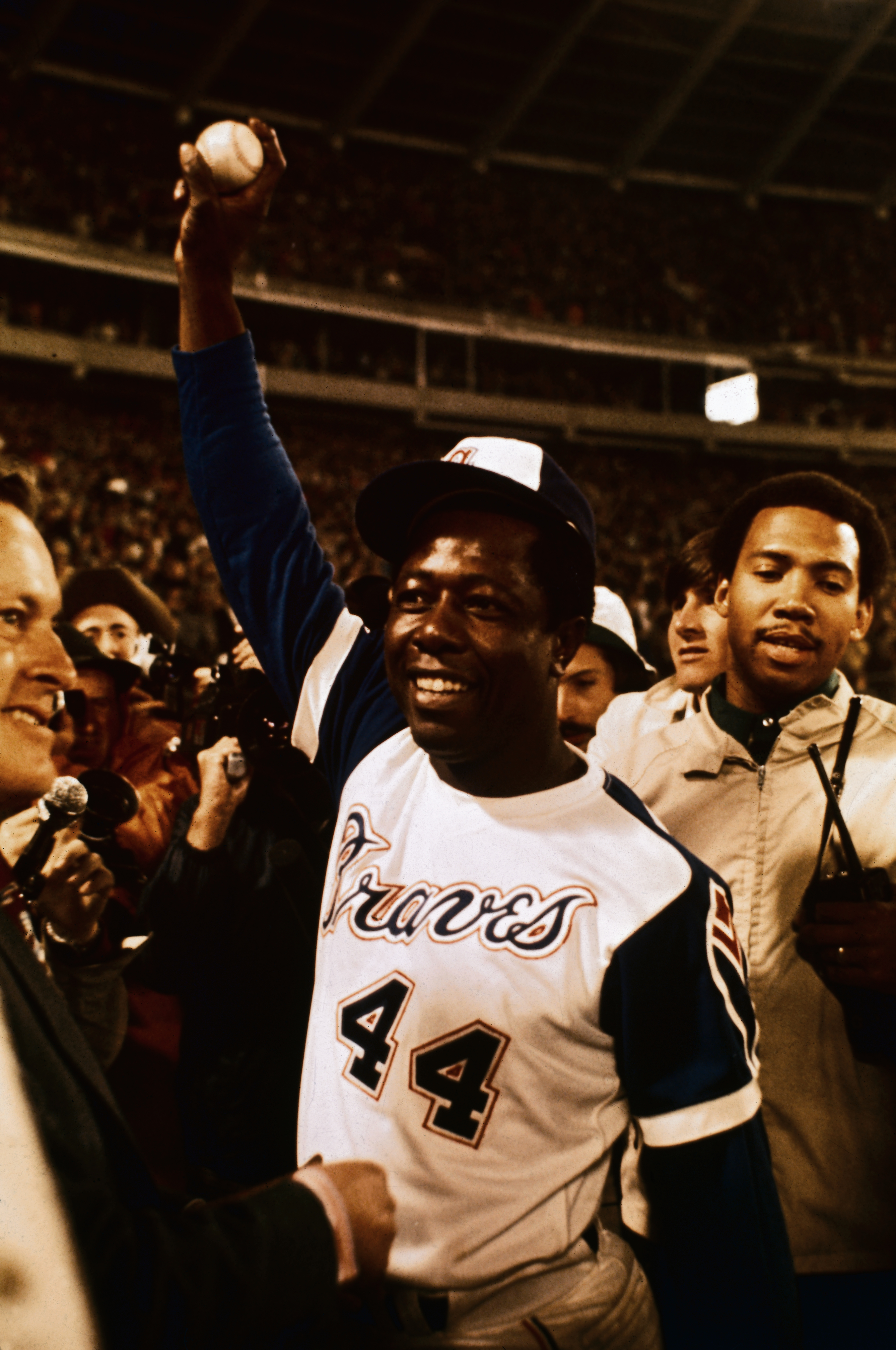Hank Aaron Holding Baseball Hit for 715th Home Run