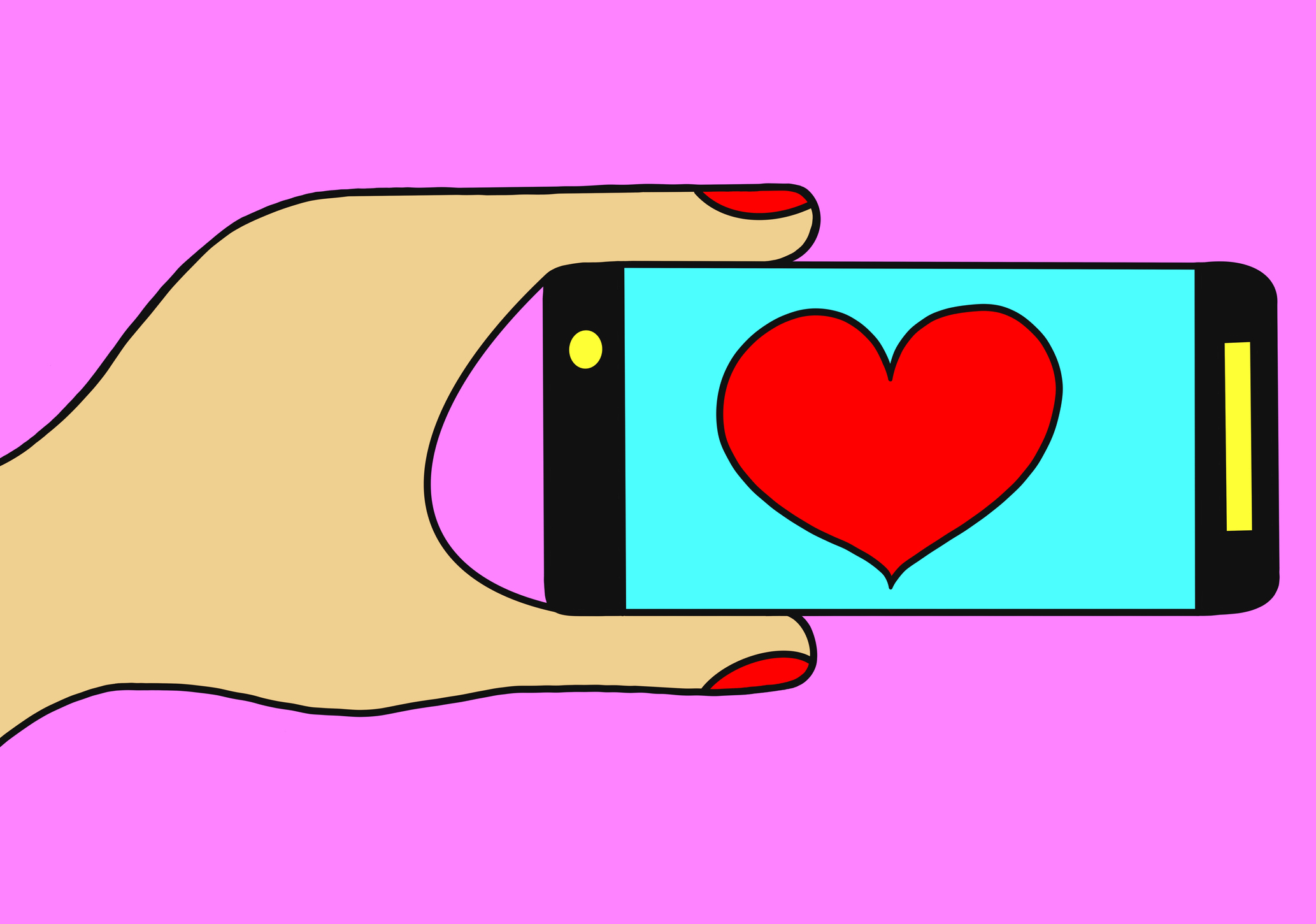 Hand holding phone with heart