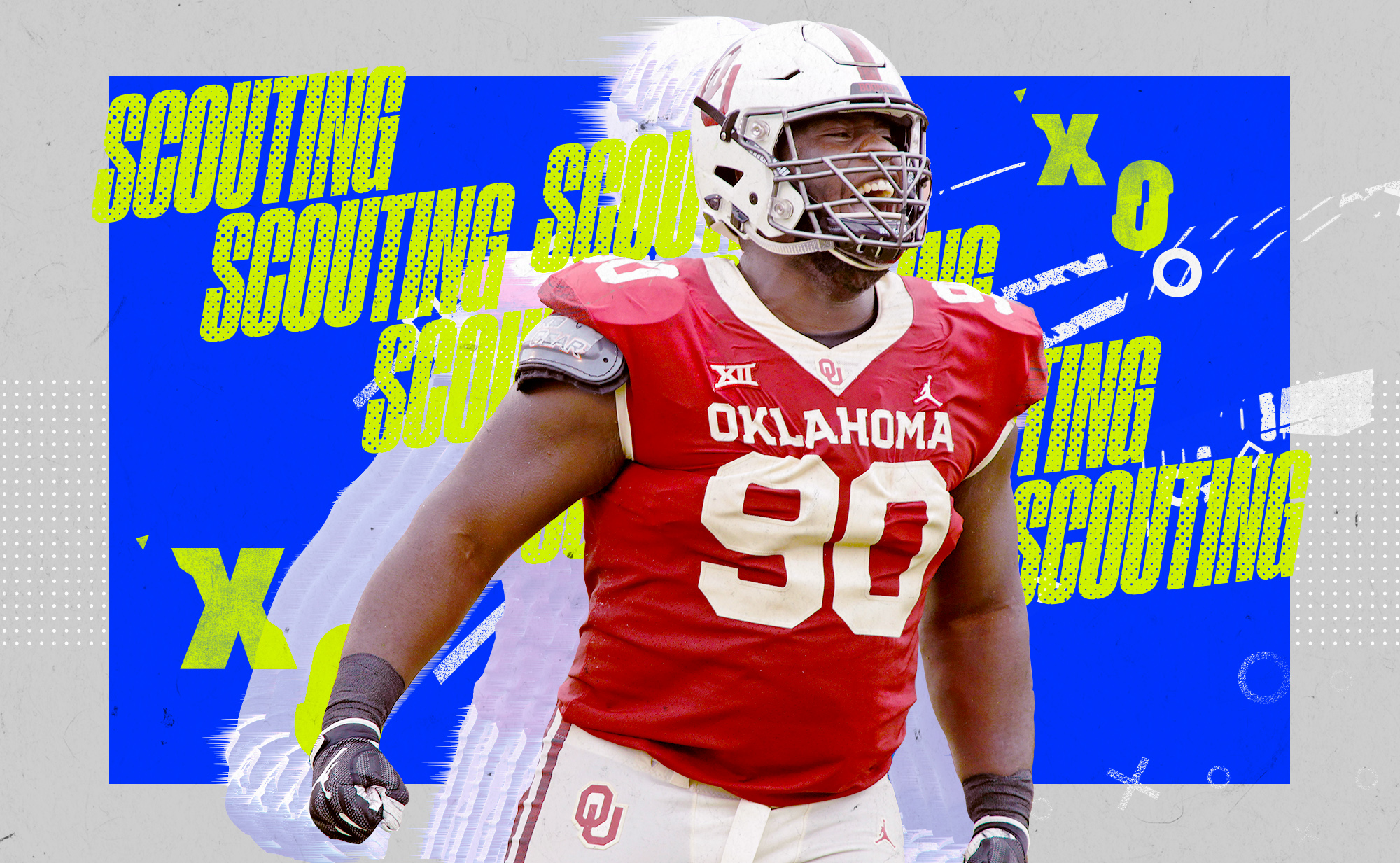"""An illustration of NFL DL prospect Neville Gallimore at Oklahoma, superimposed on a blue and white background with """"SCOUTING"""" and """"X""""s and """"O""""s in neon yellow lettering"""