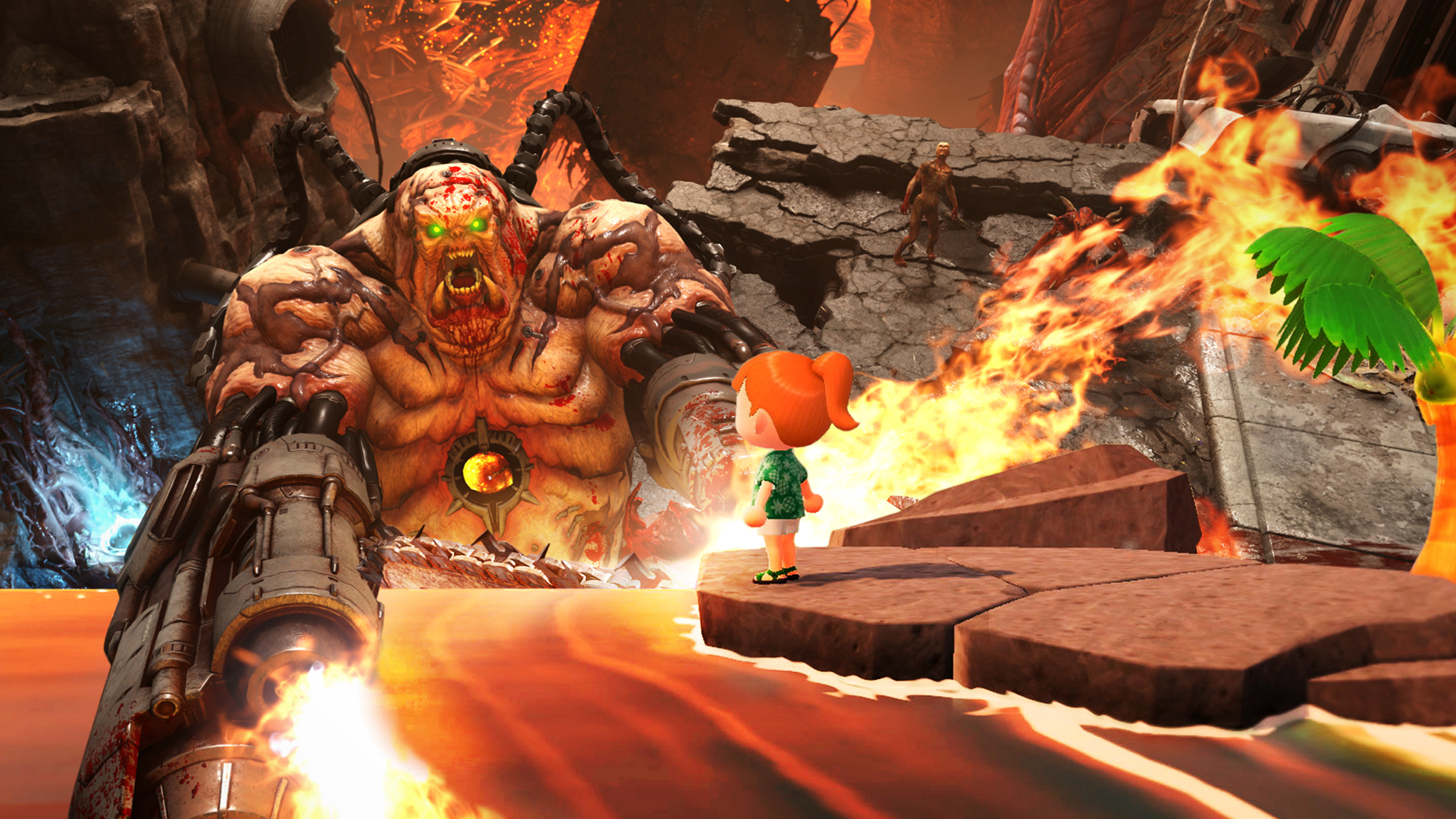 Doom creature rains down fire on a character from Animal Crossing