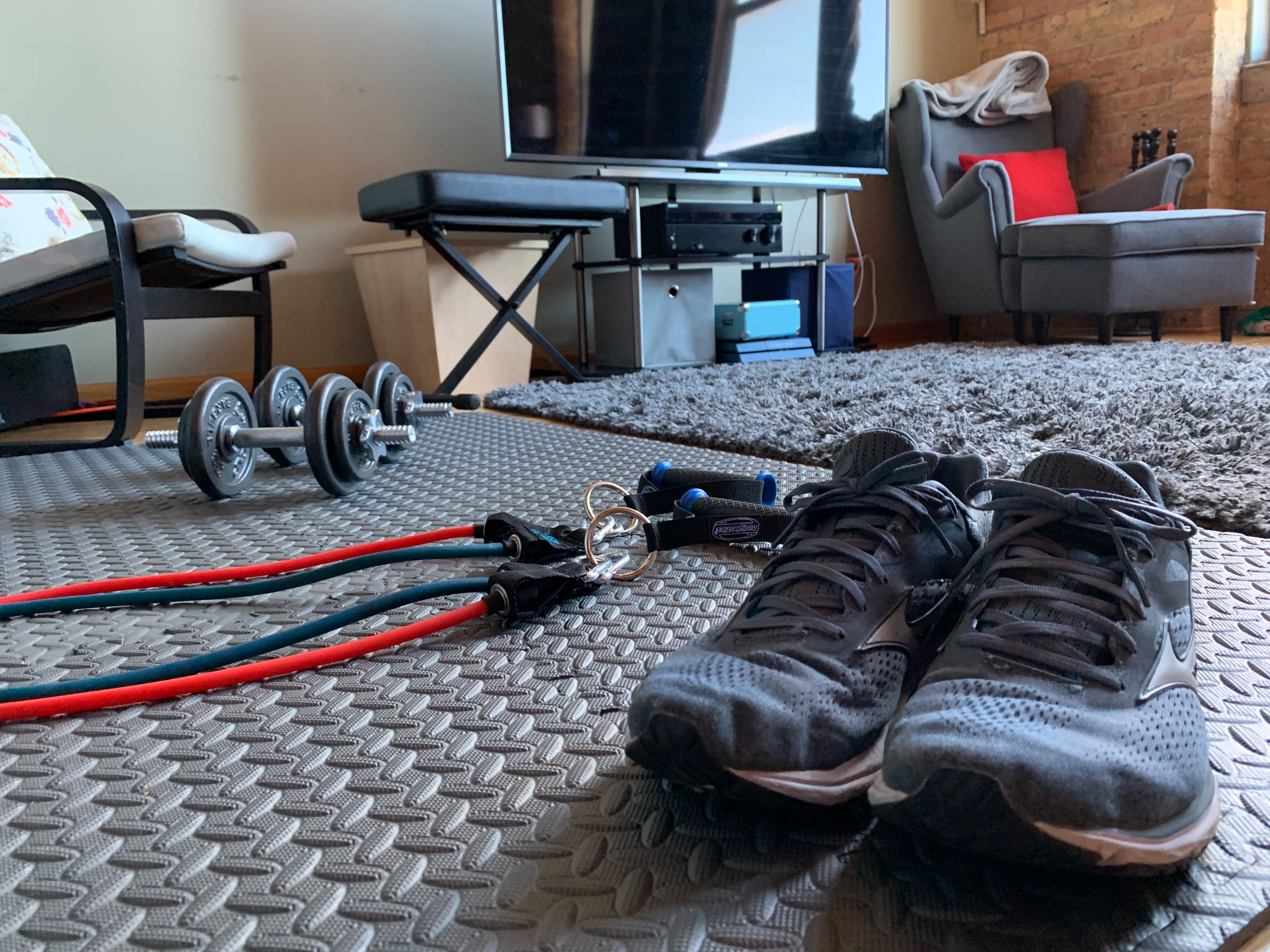 Some of Andy Boyle's at-home workout gear.