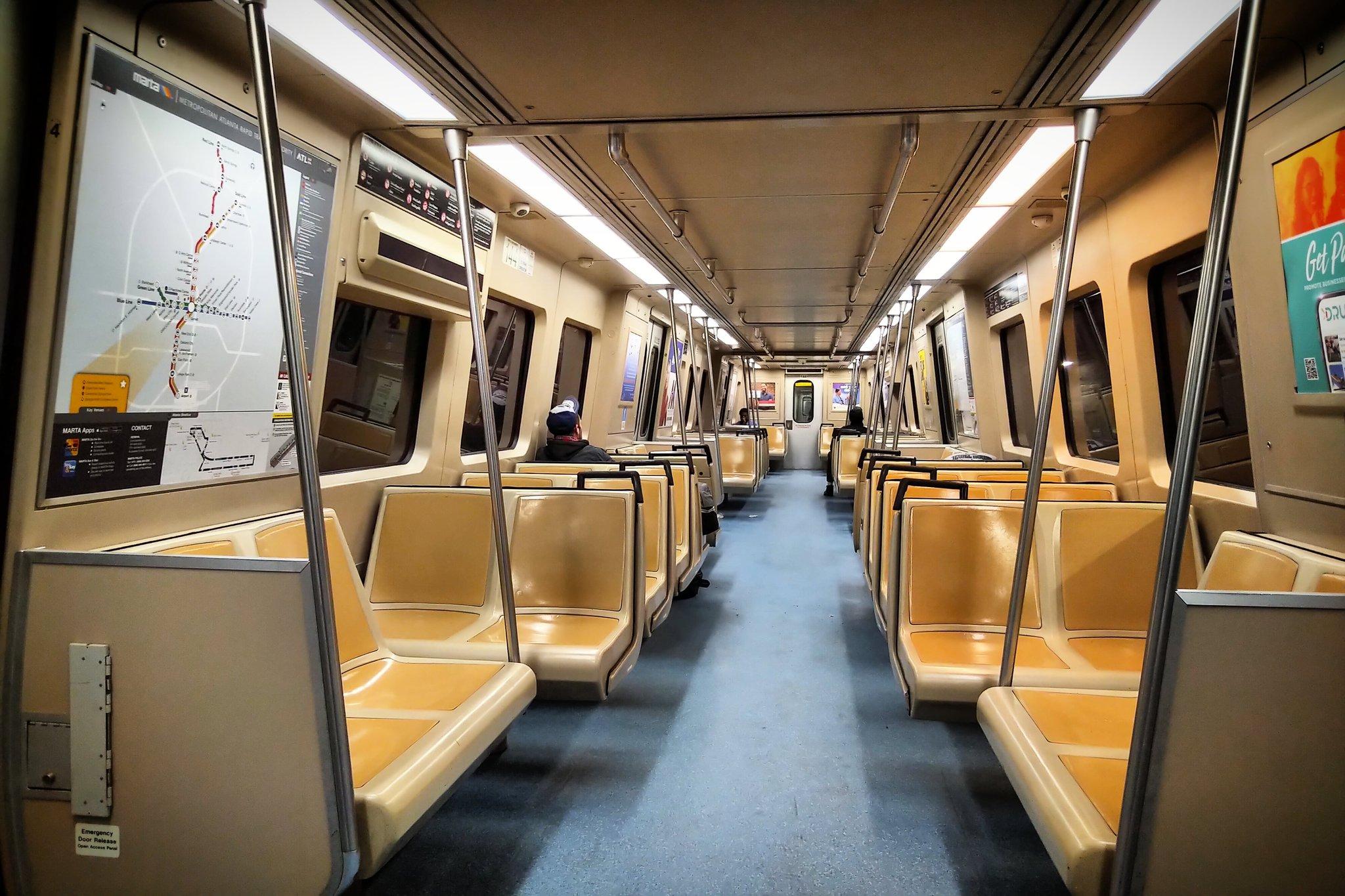 A nearly empty MARTA train car.
