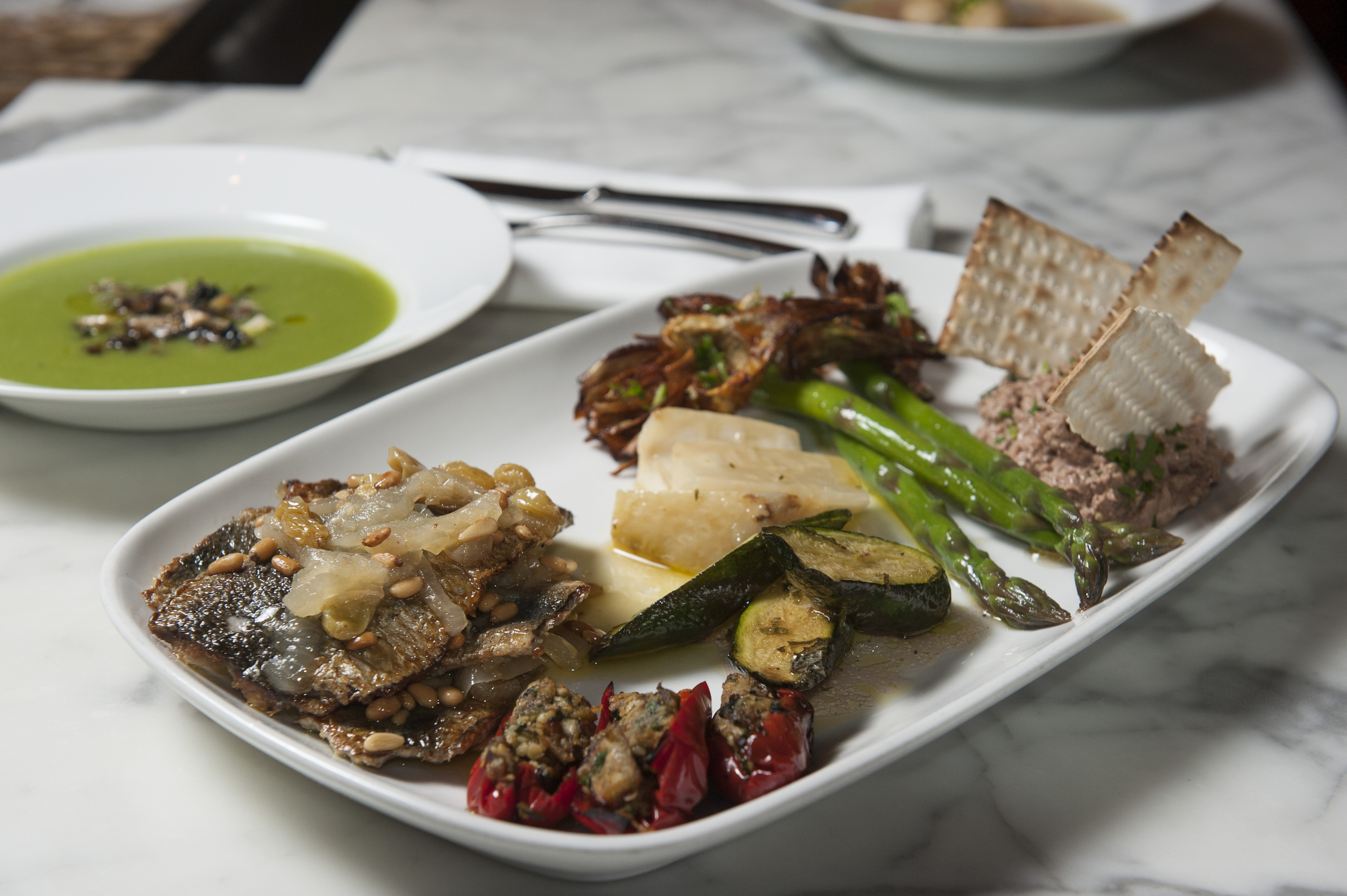 The passover spread at Perbacco