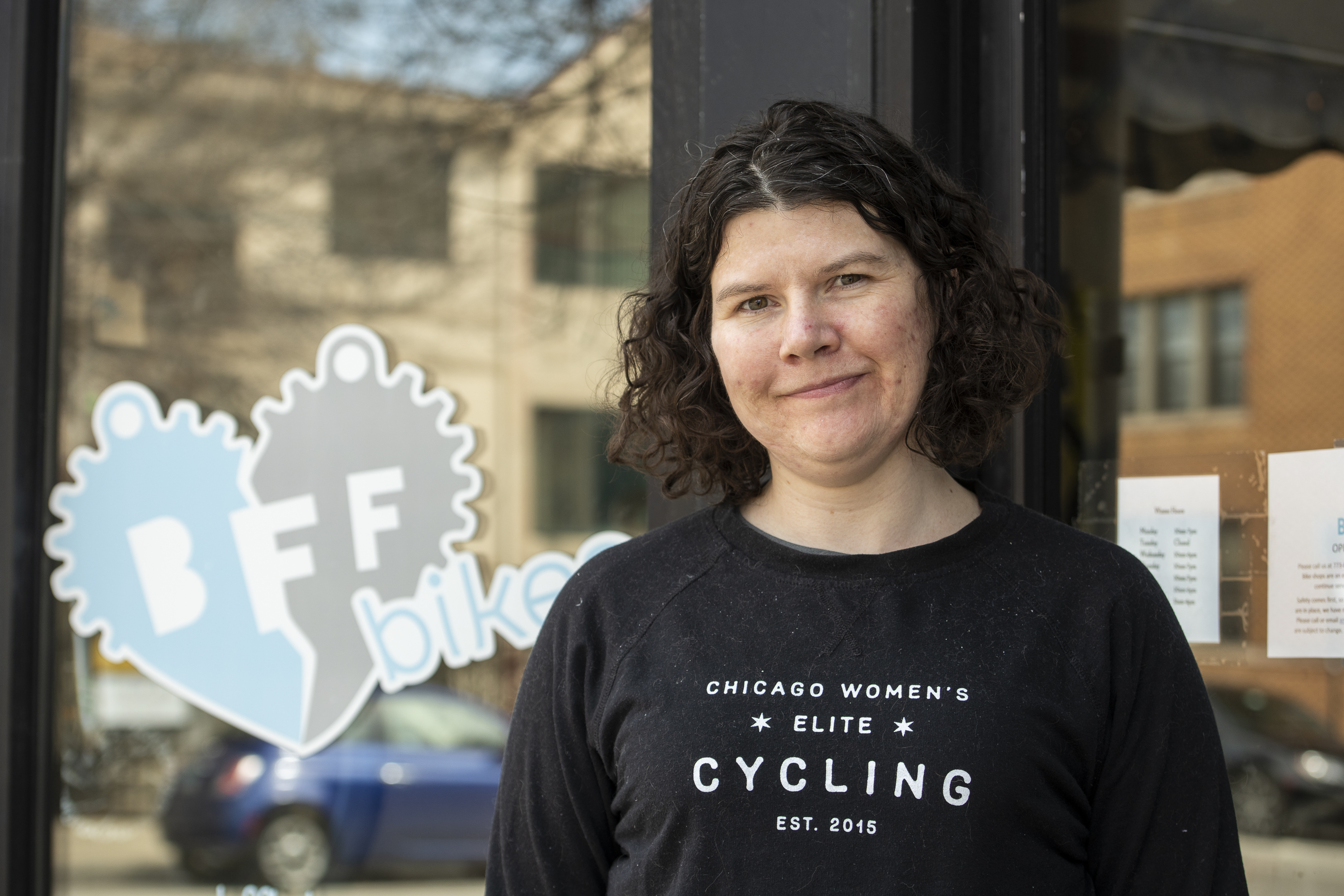 Annie Byrne, owner of BFF Bikes, stands outside her store, Friday, April 3, 2020.
