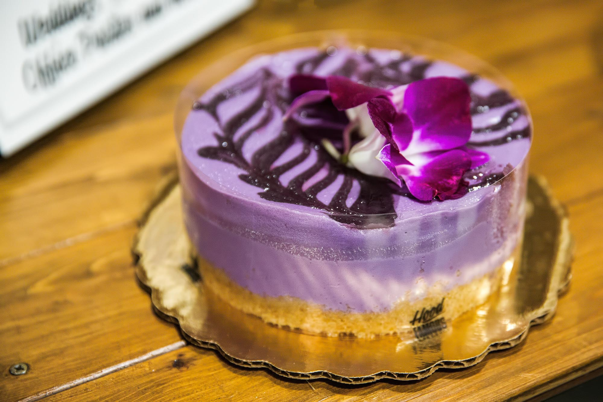The purple ube cheesecake at Hood Famous Cafe and Bar