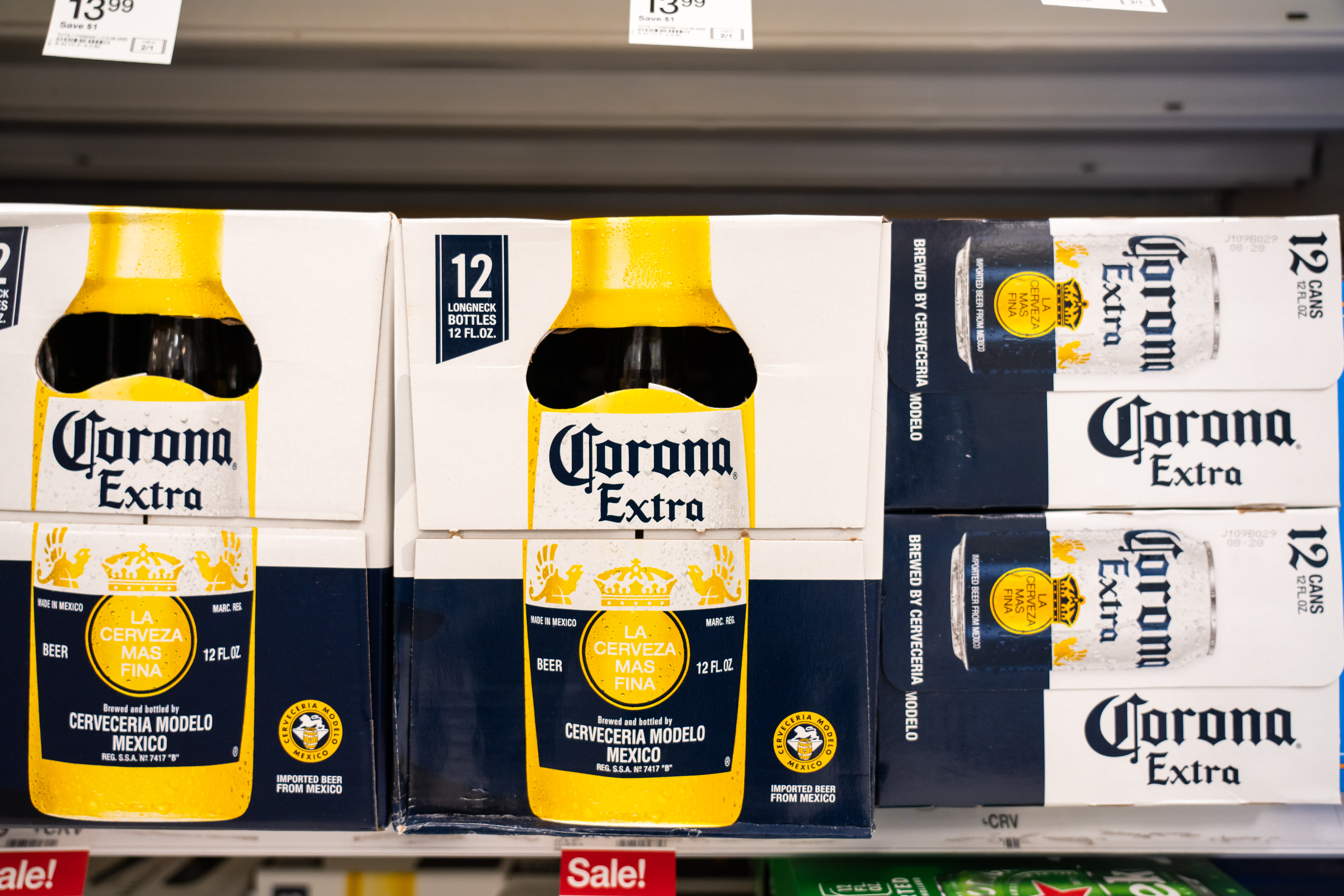 Bottles of Corona Extra seen in a Target superstore. Corona...