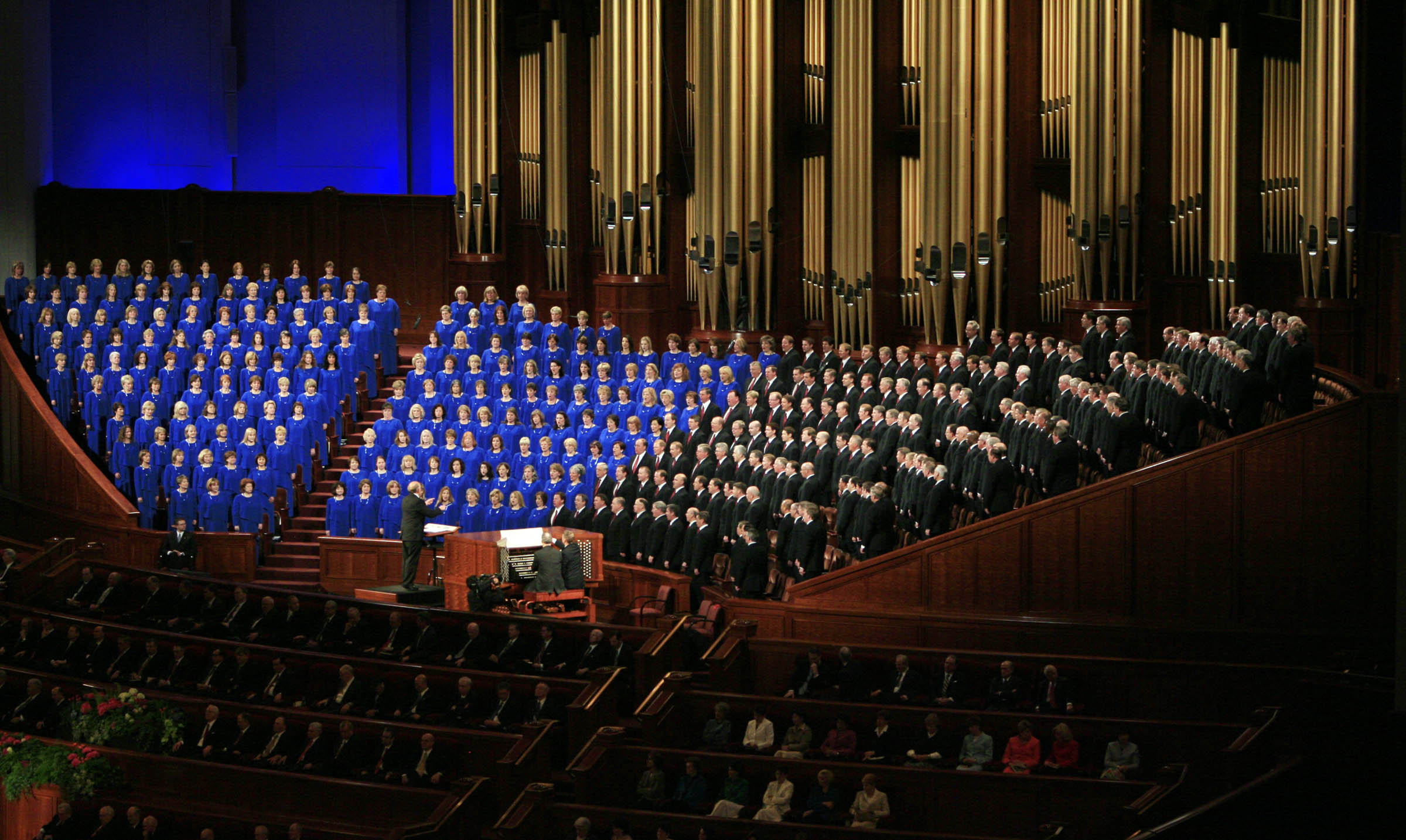 Members of the Tabernacle Choir sing in the Conference Center during LDS General Conference April 6, 2008.