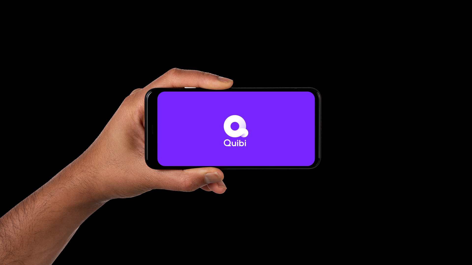 The Quibi logo is displayed on a phone held horizontally.