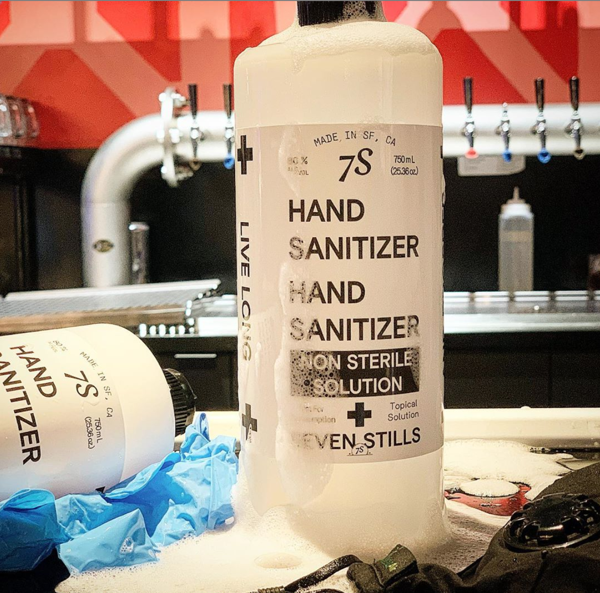 Hand sanitizer at Seven Stills