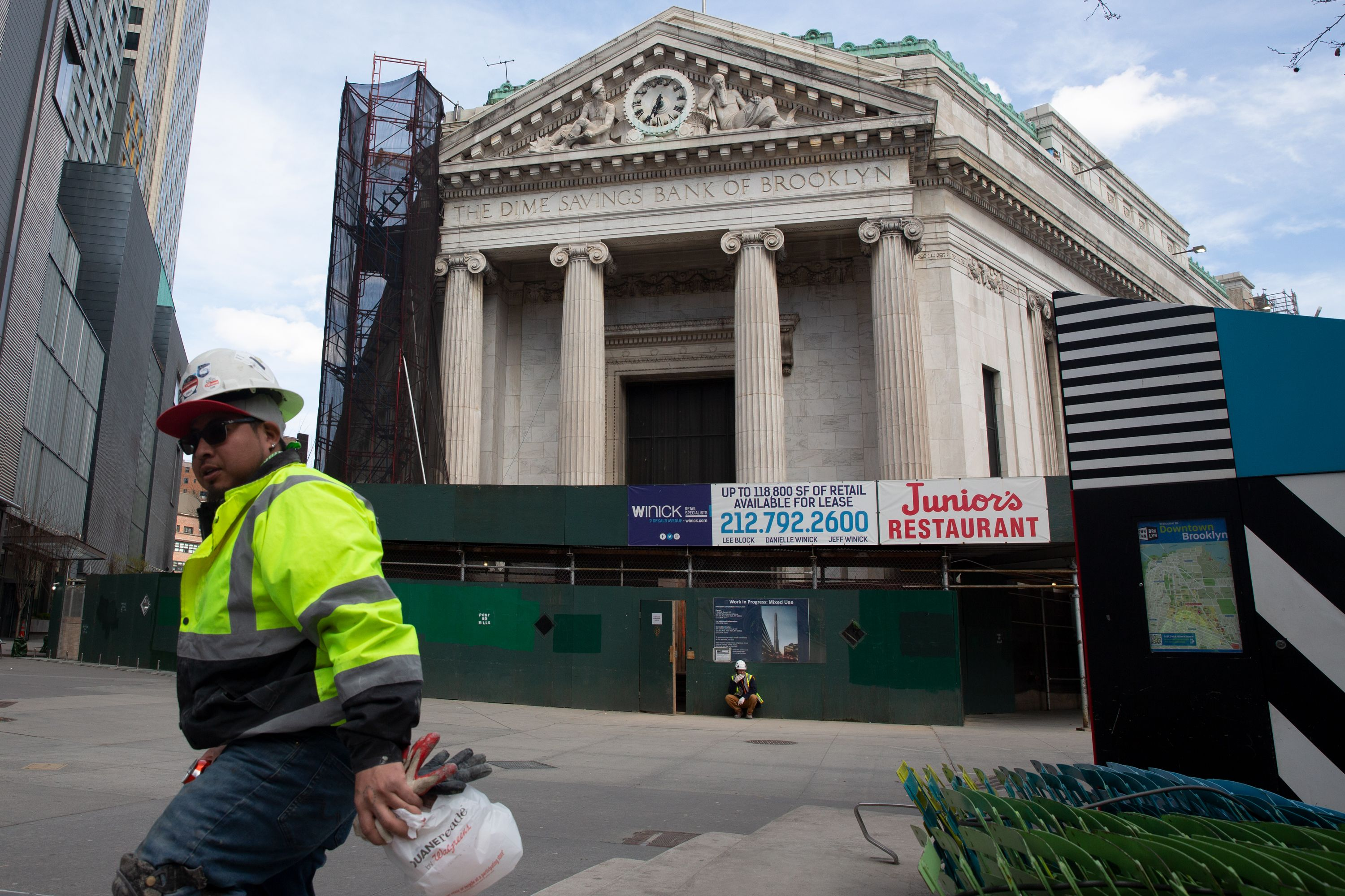 Construction was still going on inside Downtown Brooklyn's Dime Savings Banks building during the height of the coronavirus outbreak.
