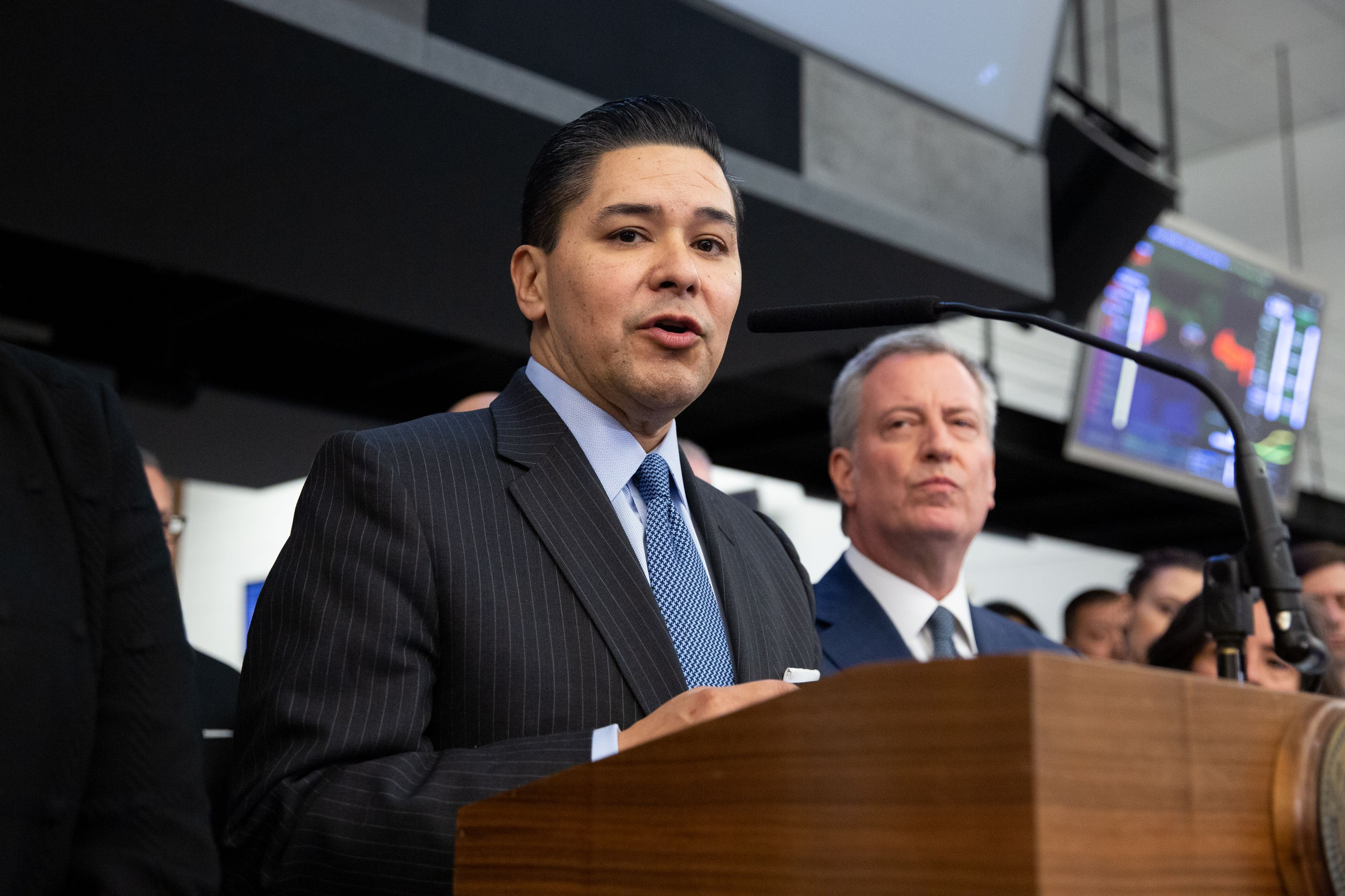 Schools Chancellor Richard Carranza speaks at a press conference at the Office of Emergency Management about the Coronavirus, March 2, 2020..