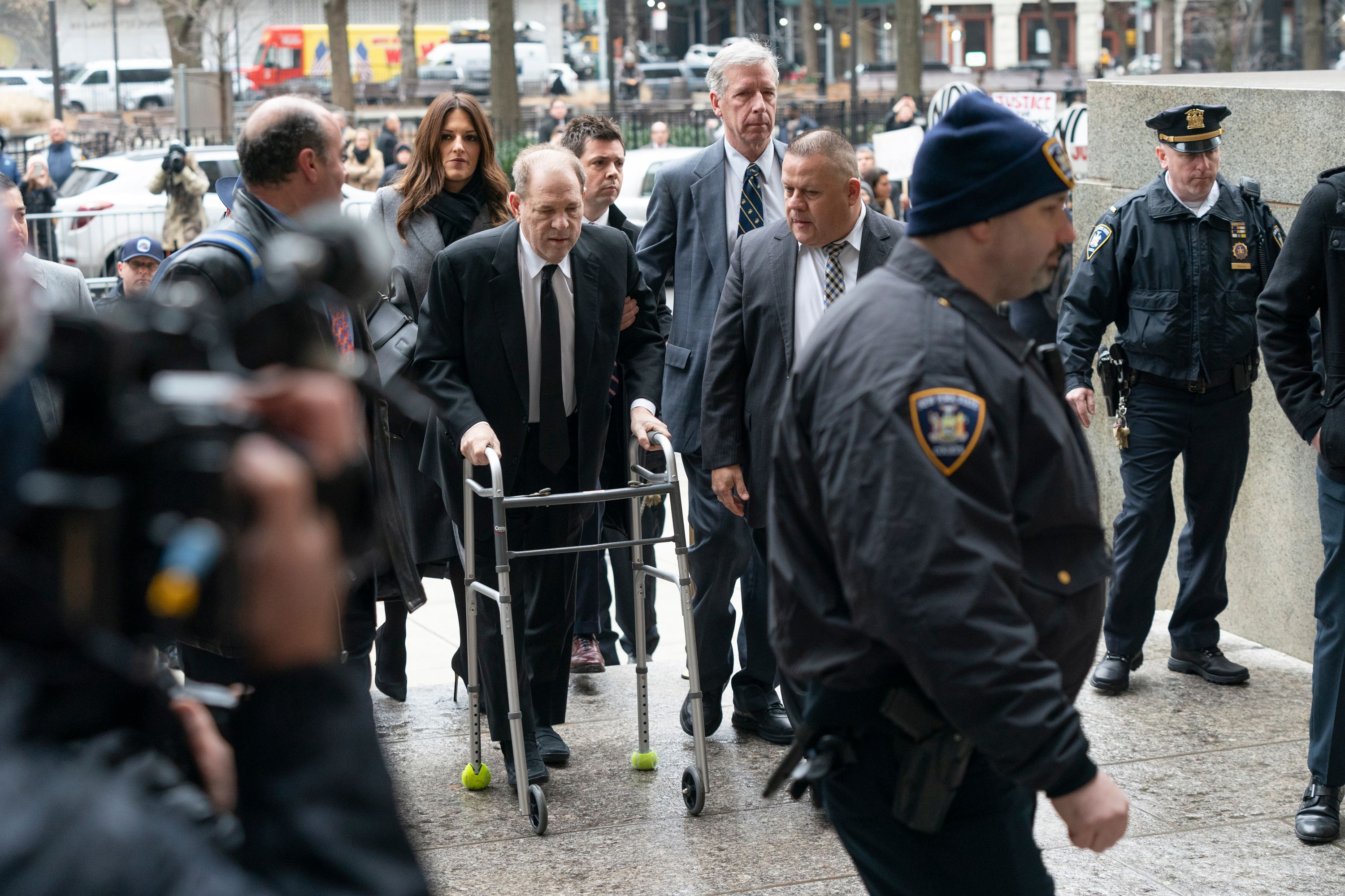 Harvey Weinstein arrives at New York Supreme Court for the first day of his trial.