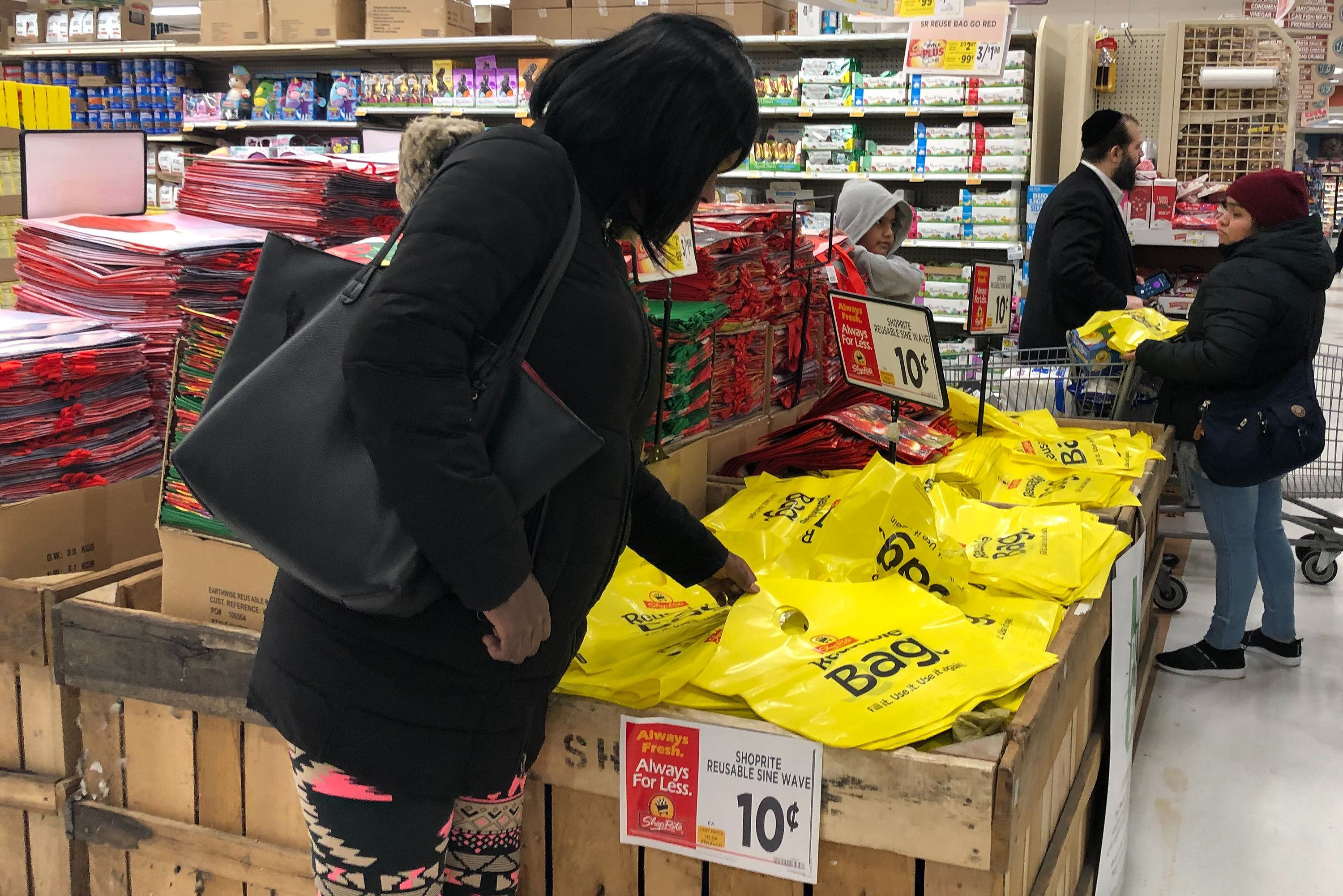 Shoppers at the McDonald Avenue ShopRite in Brooklyn gear up for the state ban on single-use plastic bags.