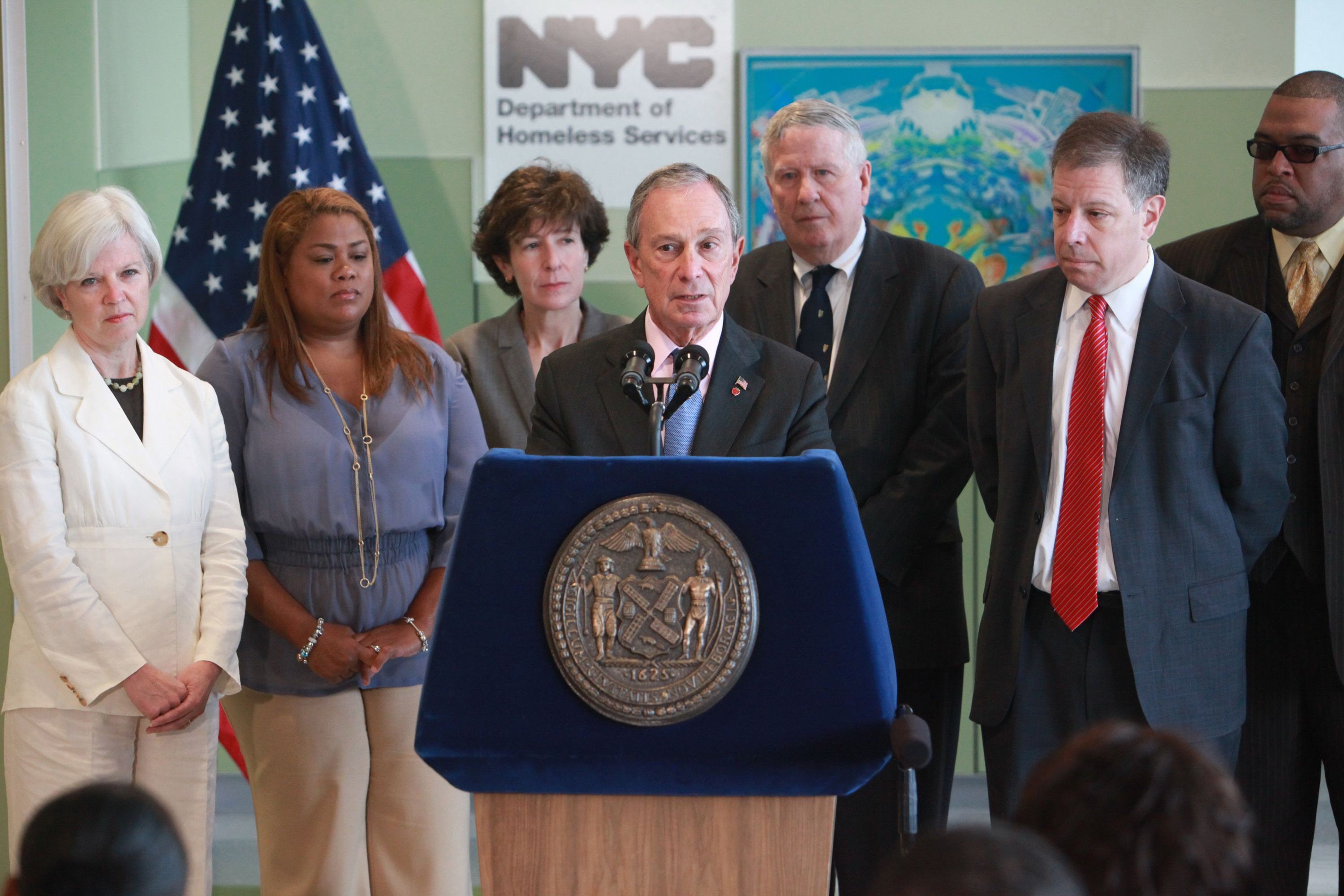 Then-Mayor Michael Bloomberg speaks in 2011 about the city opening new housing to aid homeless families.