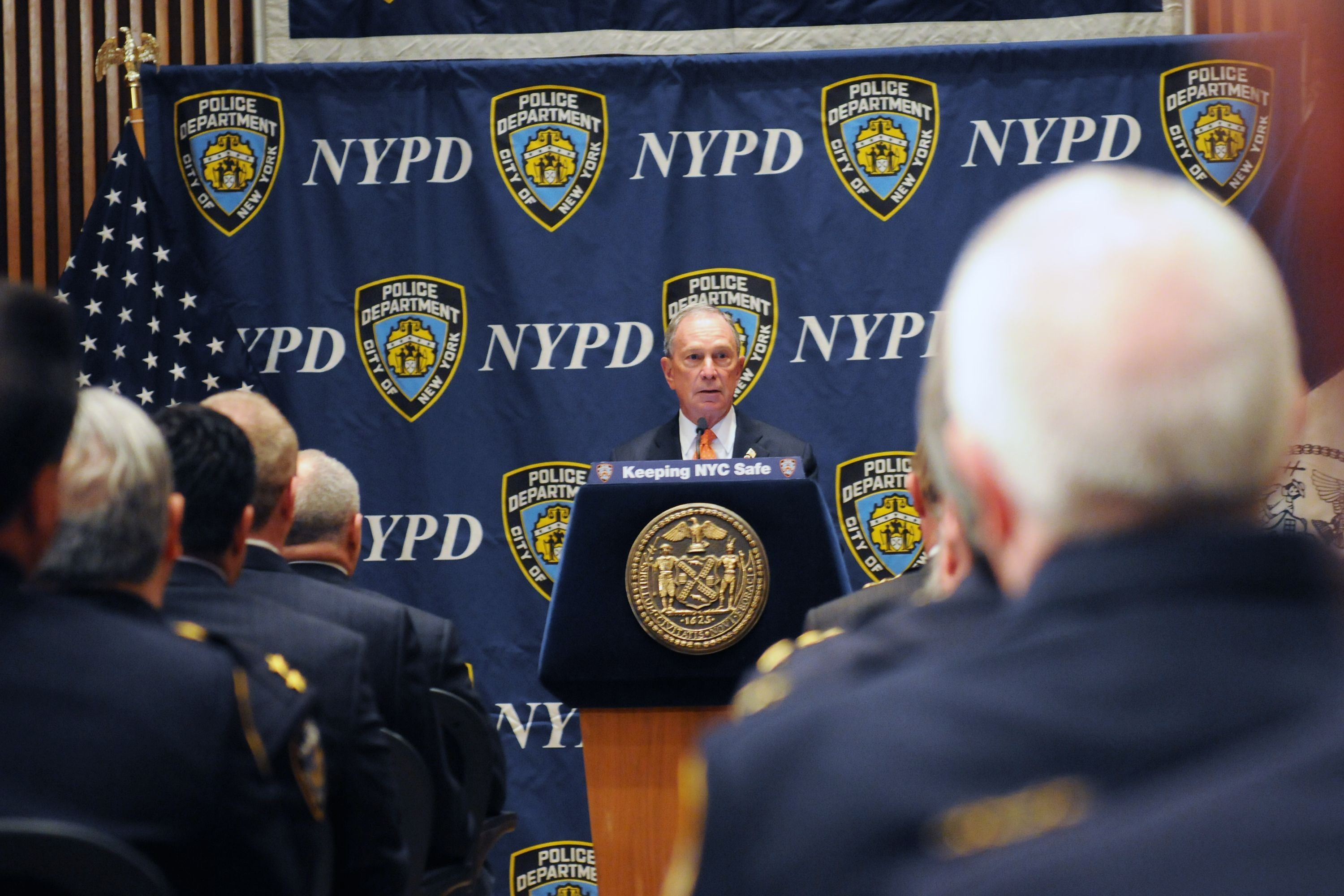 Then-Mayor Michael Bloomberg speaks in defense of stop and frisk to NYPD officials.