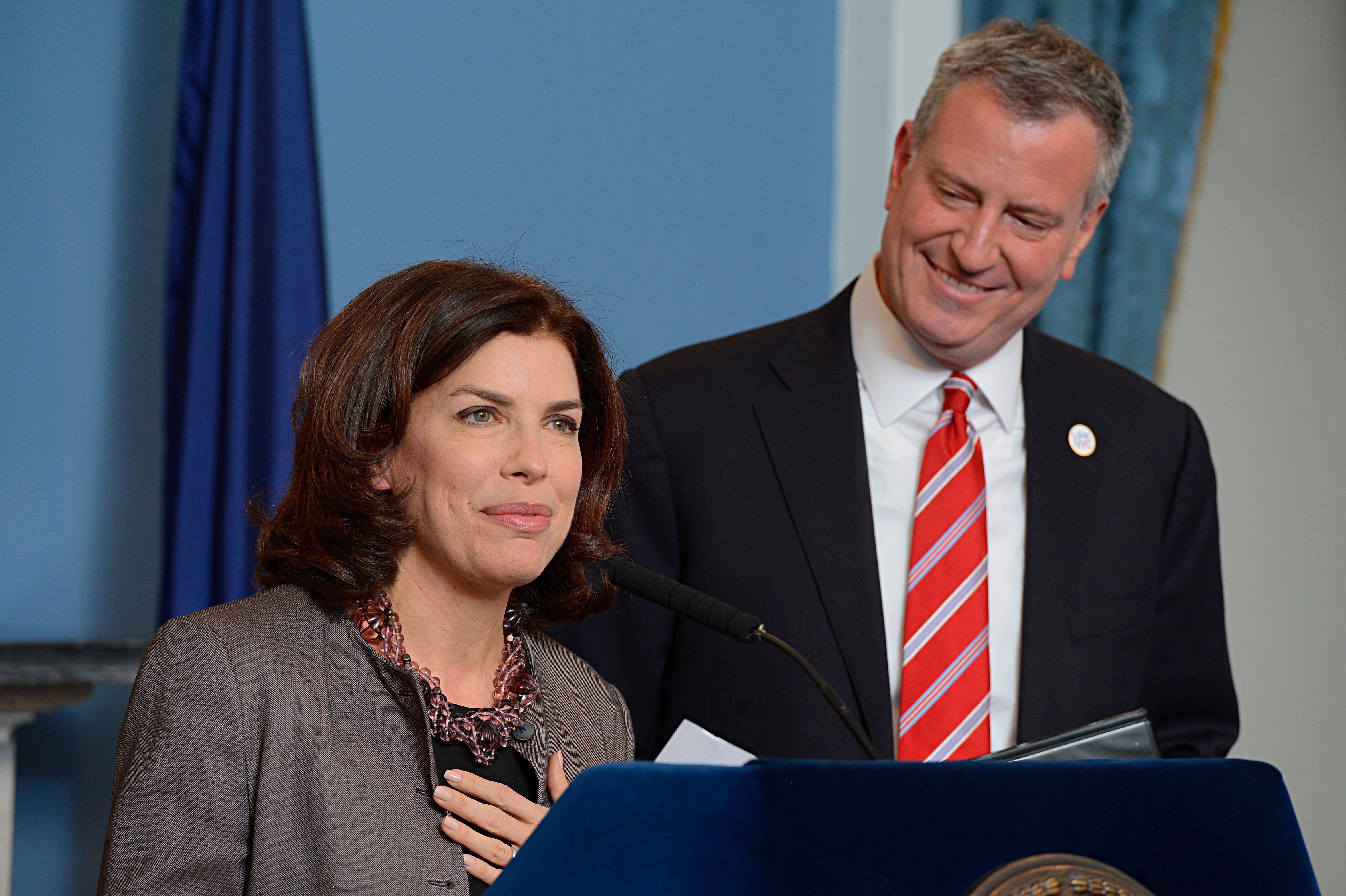 Mayor Bill de Blasio and Julie Menin