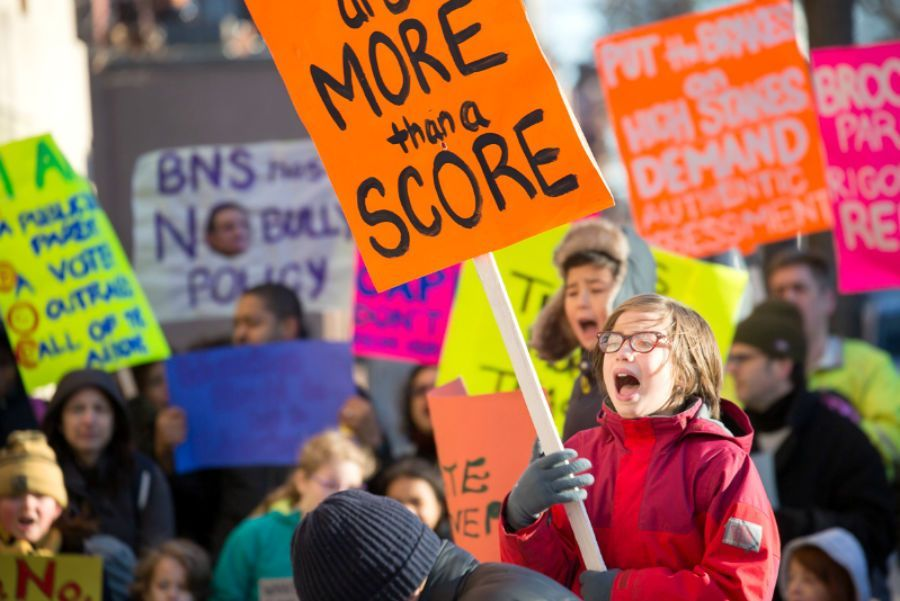 A rally against high-stakes testing at Brooklyn New School and the Brooklyn School for Collaborative Studies in 2015.