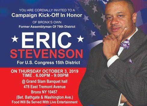 A campaign solicitation for former Bronx Assemblymember Eric Stevenson
