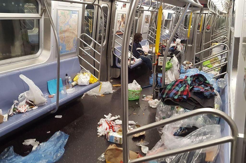 Trash on MTA subway car