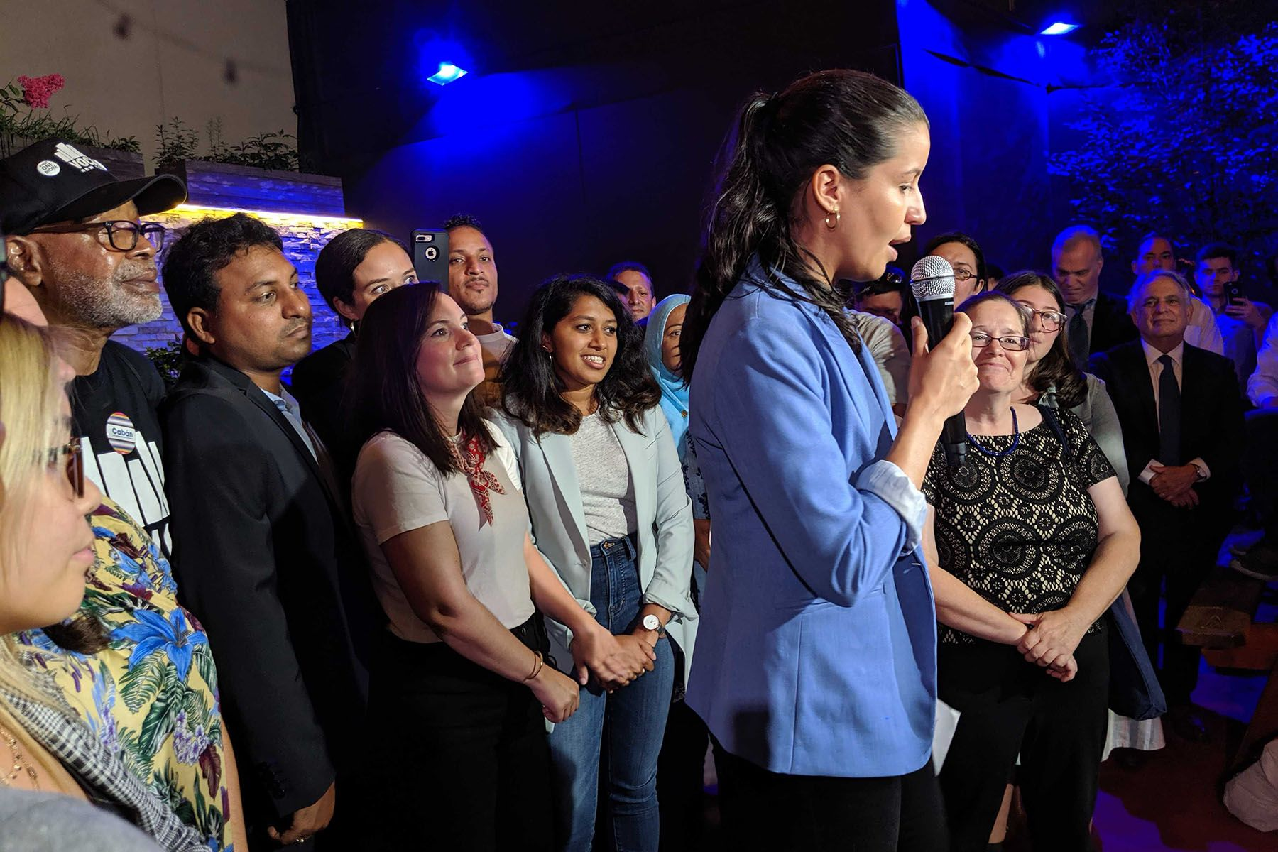 Tiffany Cabán addresses supporters at Katch Astoria, on Aug. 6, 2019.