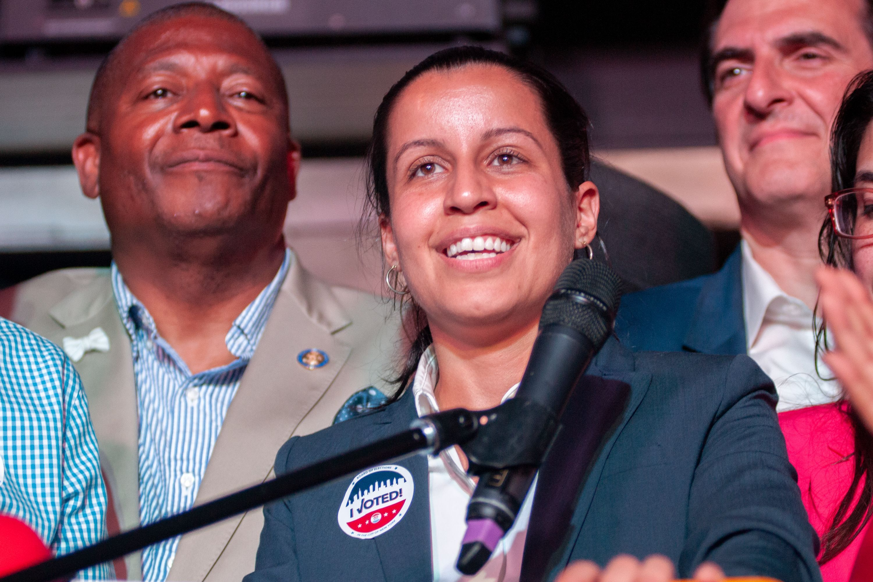Tiffany Cabán addresses supporters after polls close in the Democratic primary for Queens district attorney, June 25, 2019.