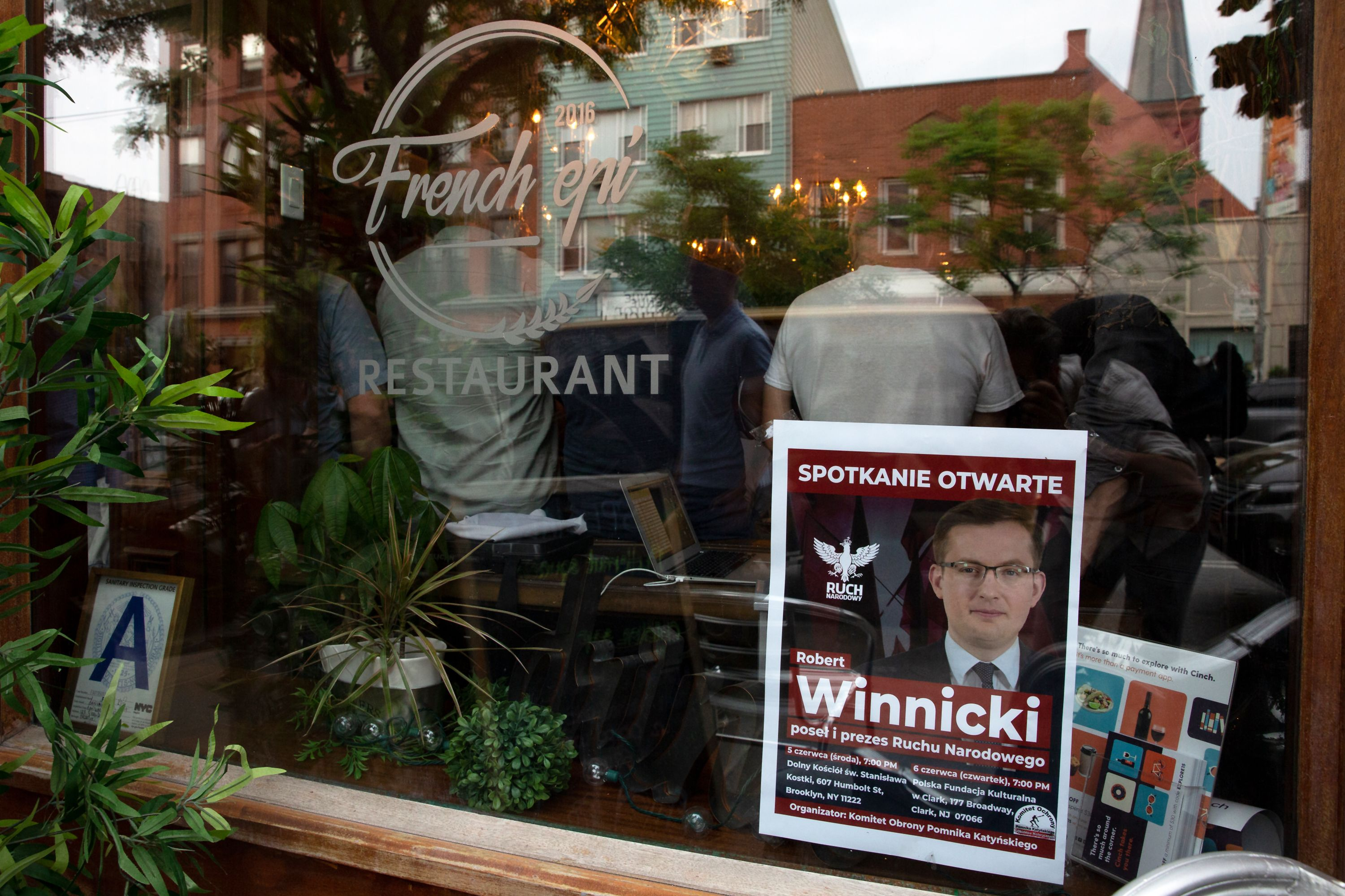 More than 100 people packed into Greenpoint restaurant French Epi to hear Polish nationalist politician Robert Winnicki speak, June 5, 2019.