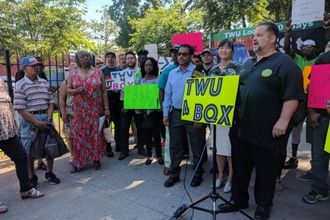 John Samuelsen at a news conference on the BQX on June 12, 2017.
