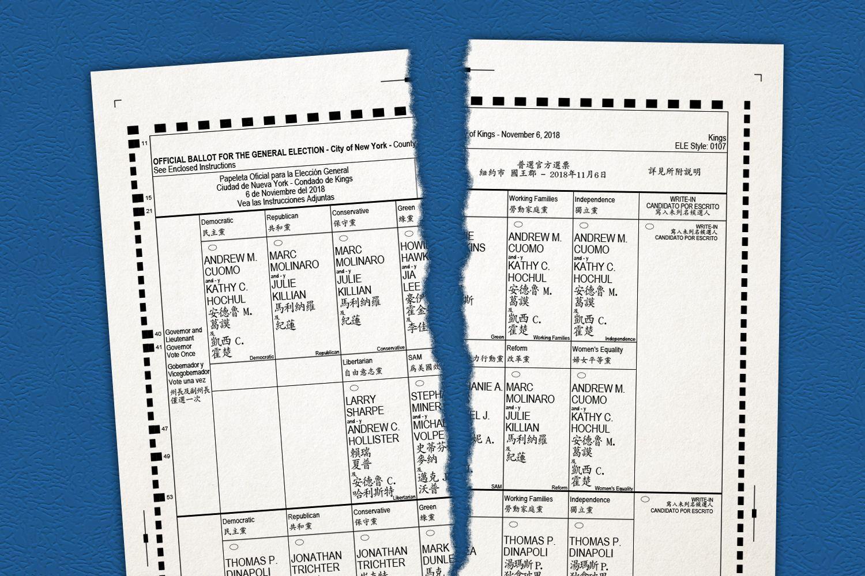 A photo Illustration of a torn New York City ballot.