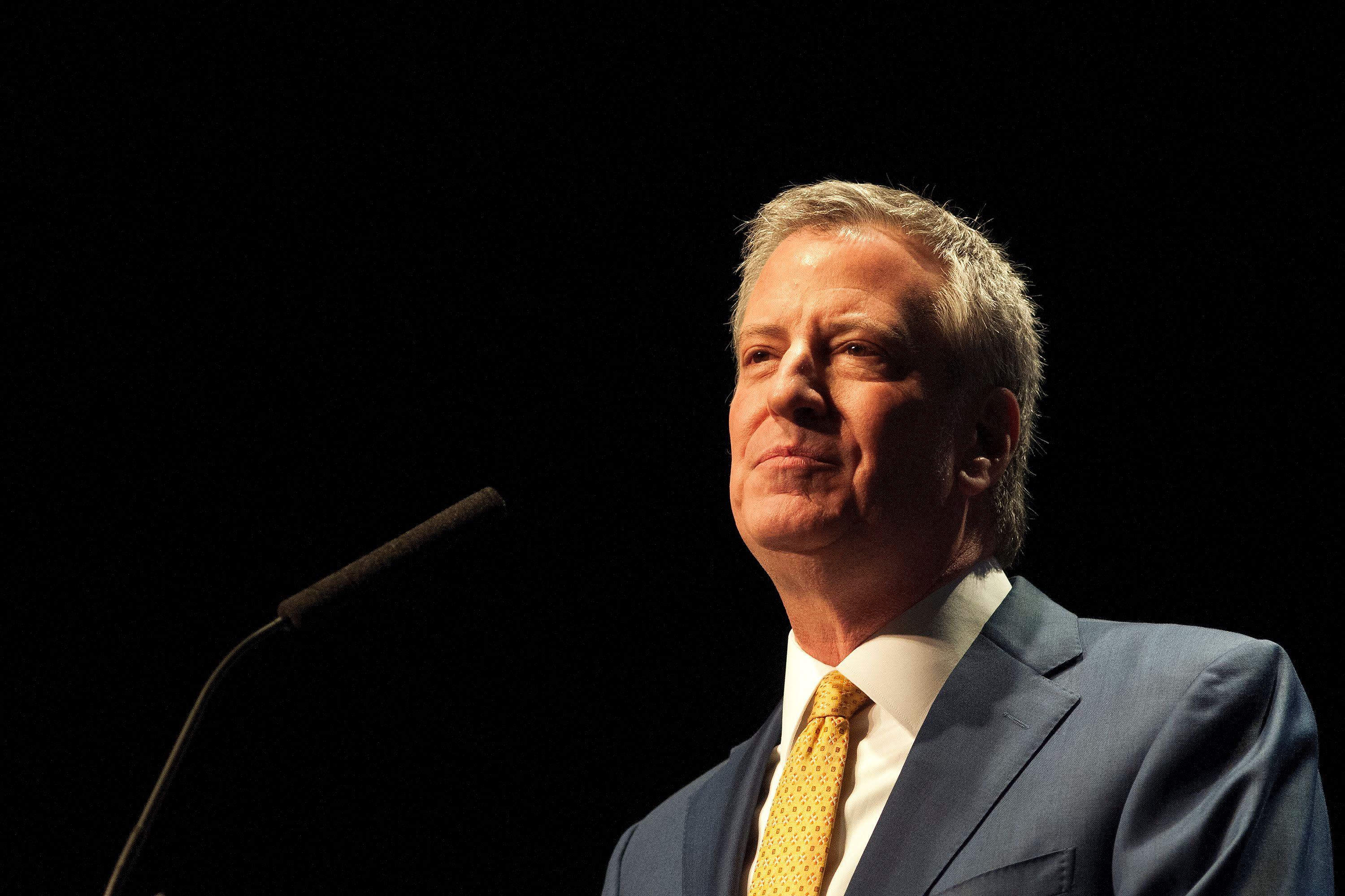 Mayor Bill de Blasio delivers the State of the City address on the Upper West Side, Jan. 10, 2019.