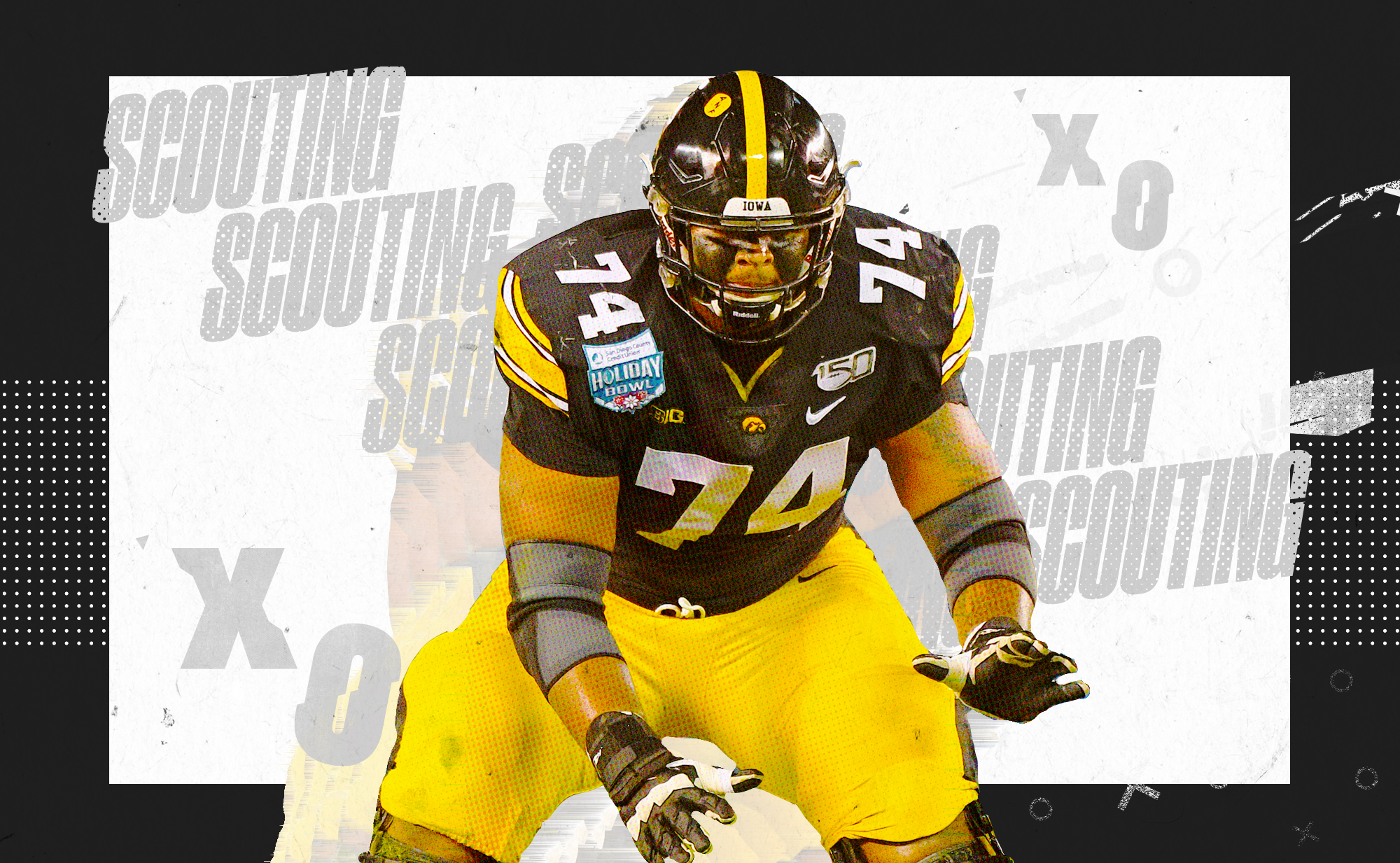 """An illustration of NFL OT prospect Tristan Wirfs in a stance at Iowa, superimposed on a black and white background with """"SCOUTING"""" and """"X""""s and """"O""""s in gray lettering"""