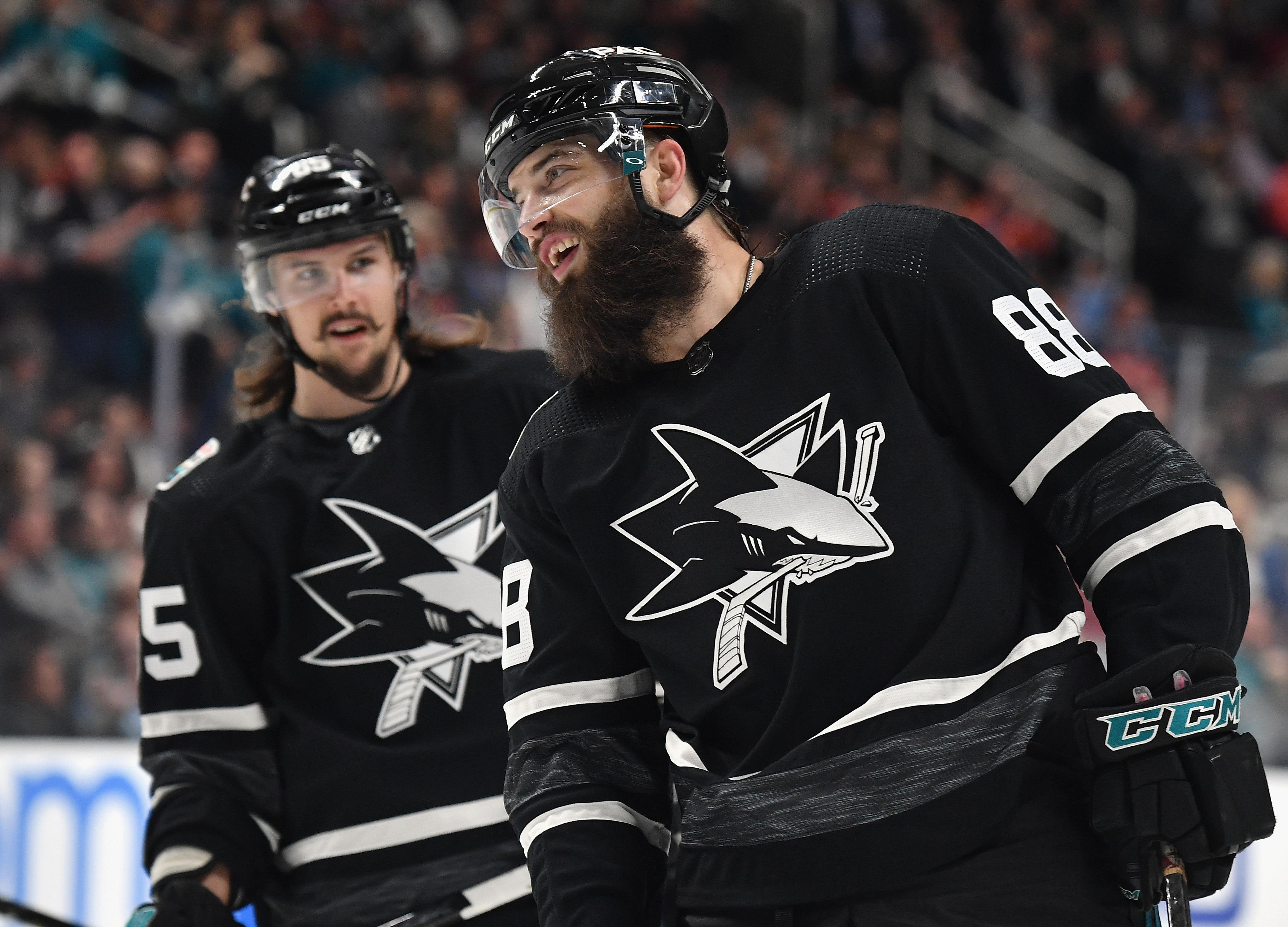 SAN JOSE, CA - JANUARY 26: Erik Karlsson #65 and Brent Burns #88 of the San Jose Sharks plays in the 2019 Honda NHL All-Star Game at SAP Center on January 26, 2019 in San Jose, California.