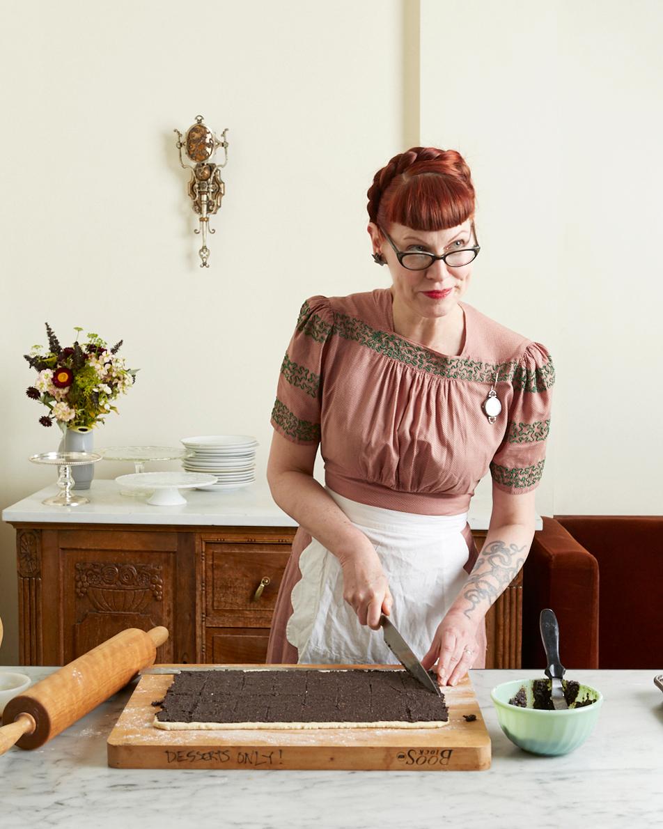 Michelle Polzine prepping a dessert at 20th Century Cafe