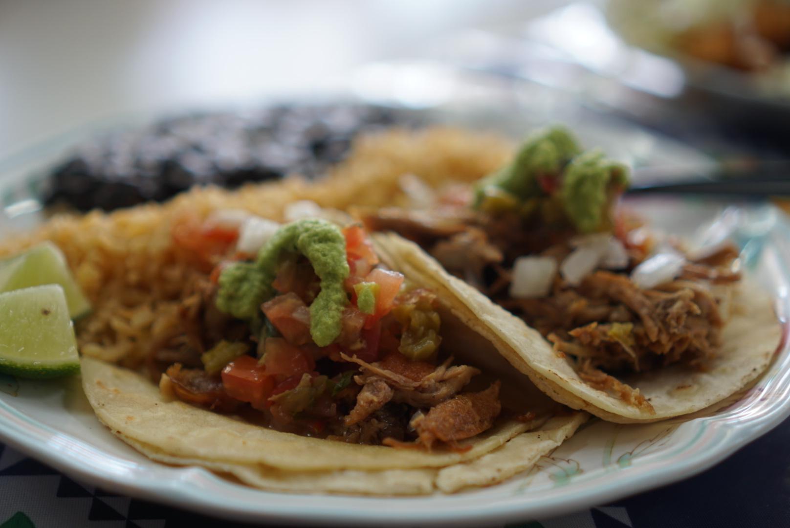 A close-up shot of carnitas tacos from Tienda de Leon