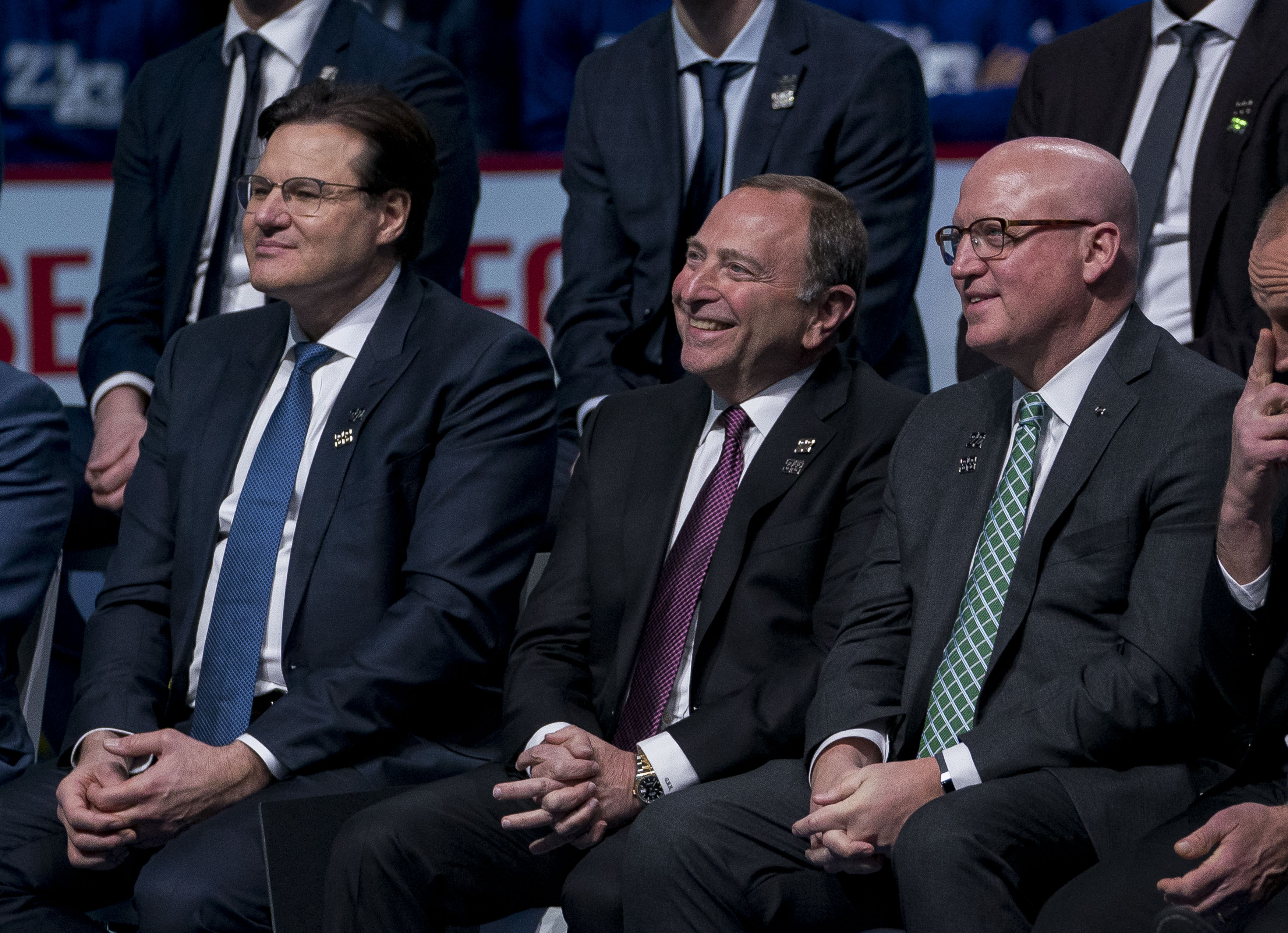 Feb 12, 2020; Vancouver, British Columbia, CAN; Gary Bettman commissioner of the National Hockey League with a smile during the Sedin's retirement ceremony prior to a game between the Vancouver Canucks and Chicago Blackhawks.