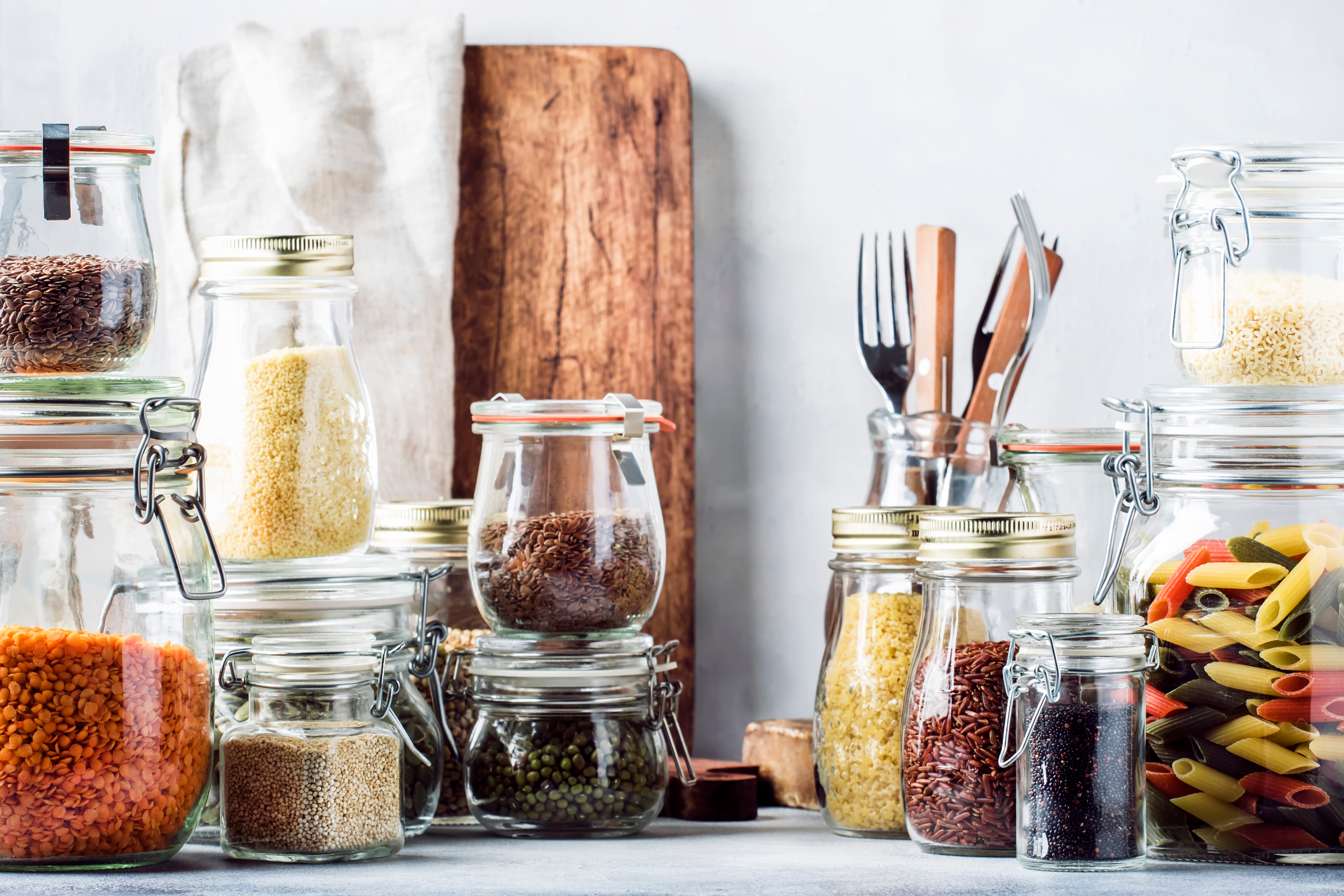 A pantry stocked with essentials and utensils