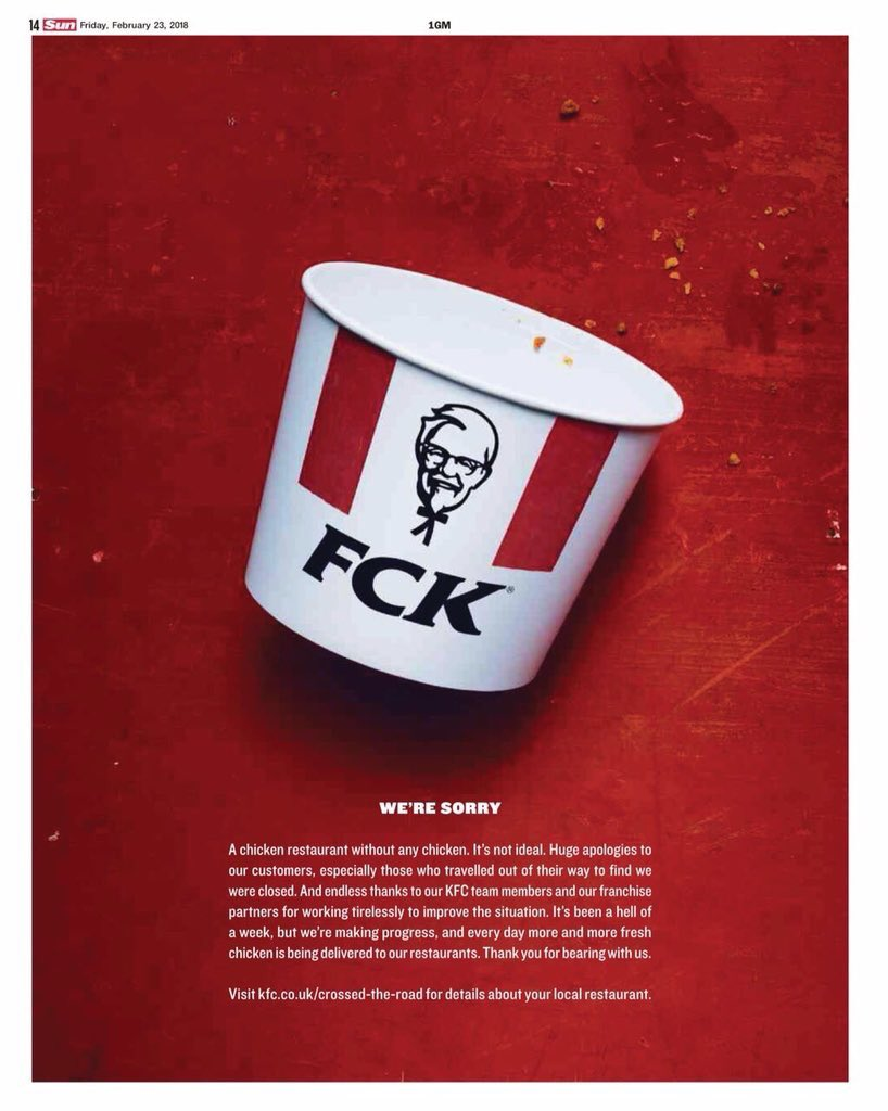 KFC sent out material after DHL lost its chicken