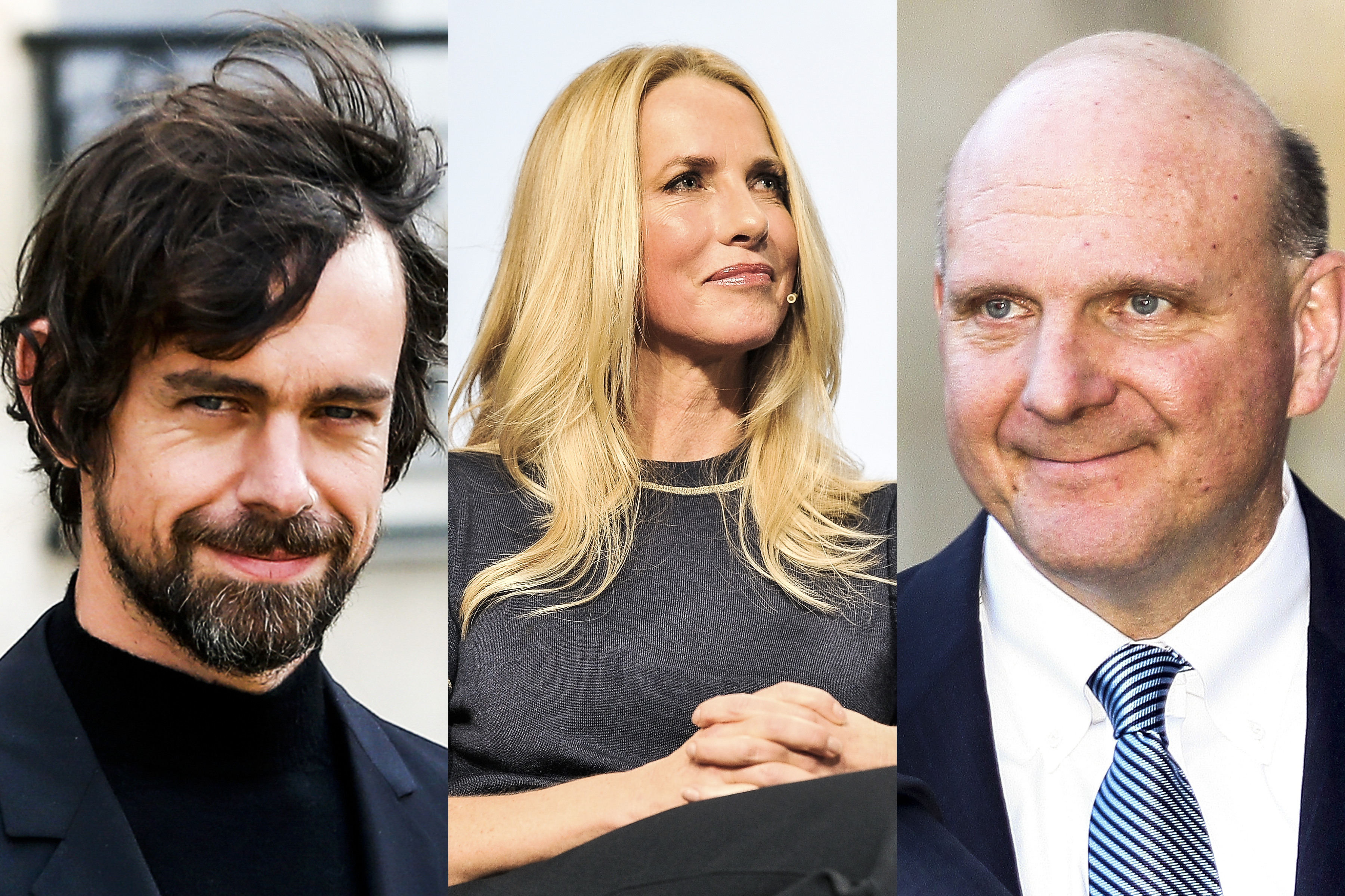 Images of Jack Dorsey, Laurene Powell Jobs, and Steve Ballmer.