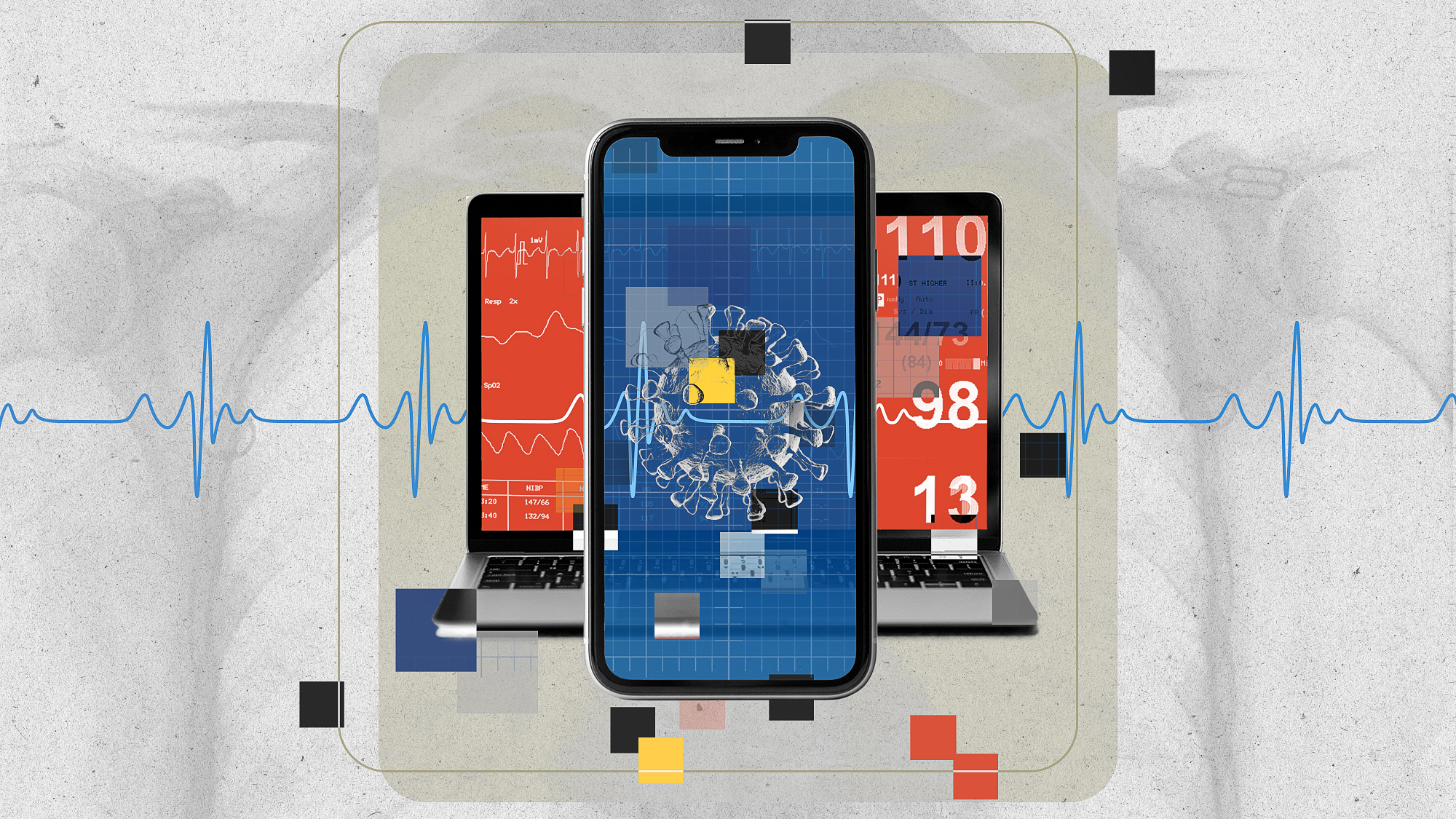 Graphic illustration featuring a collage of a mobile phone, laptop and various medial readouts
