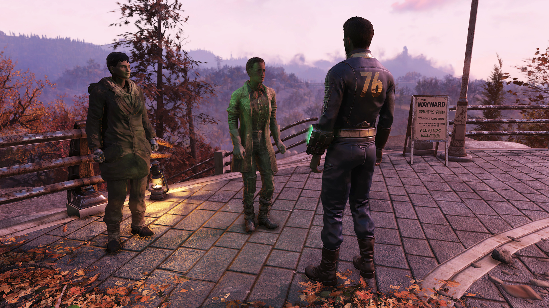 Fallout 76 - a player talks to two women outside Vault 76